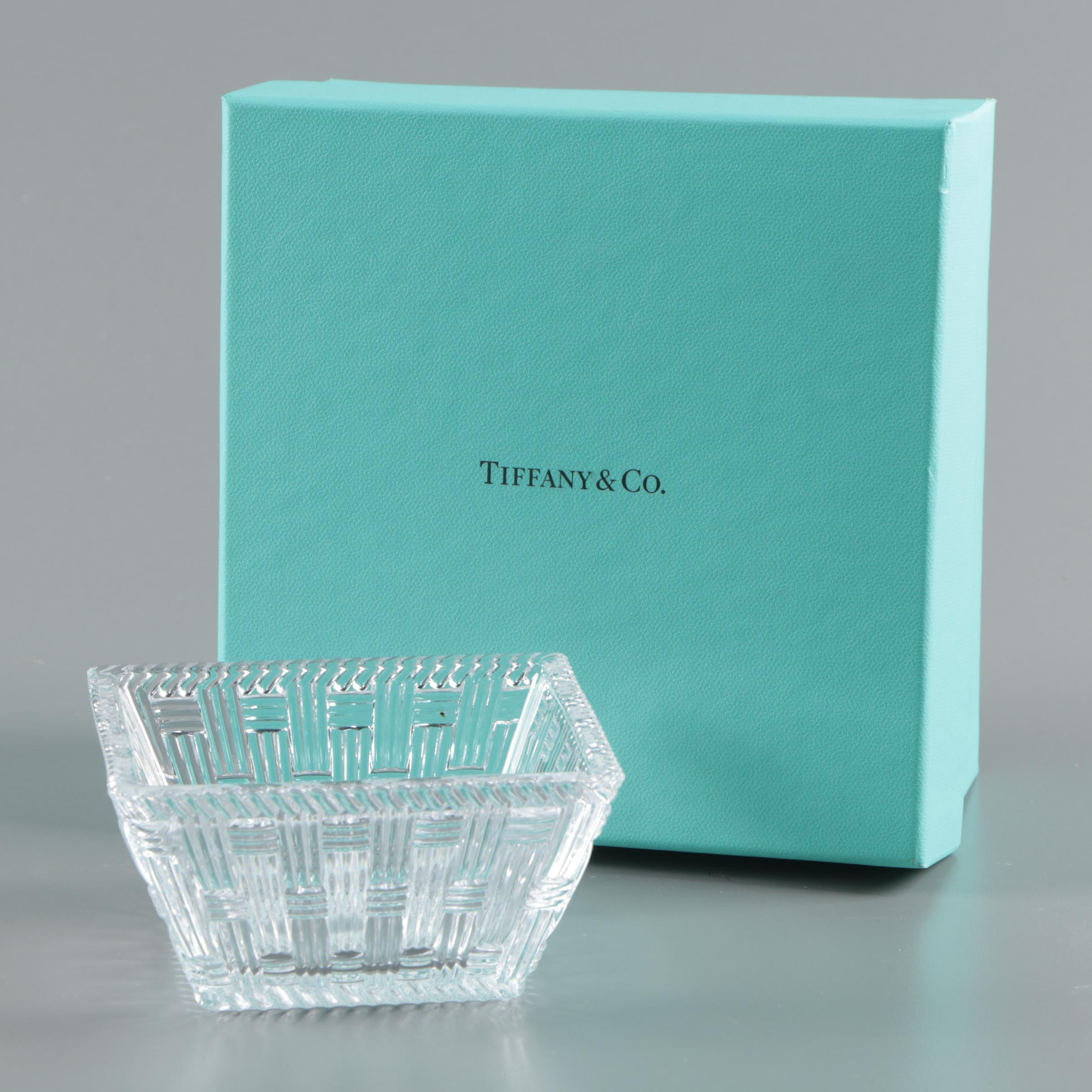 "Tiffany & Co. ""Woven"" Crystal Square Bowl"