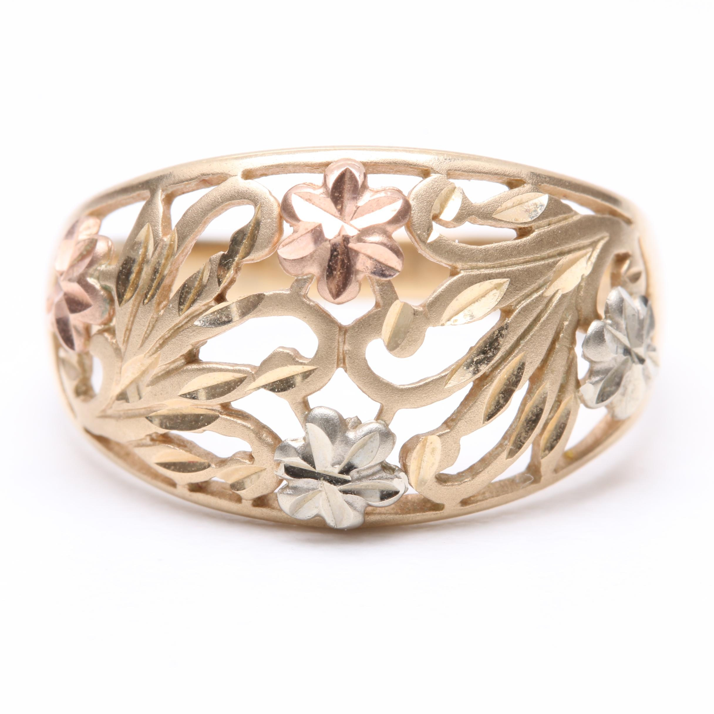 Michael Anthony 10K Yellow Gold Ring with White and Rose Gold Floral Accents