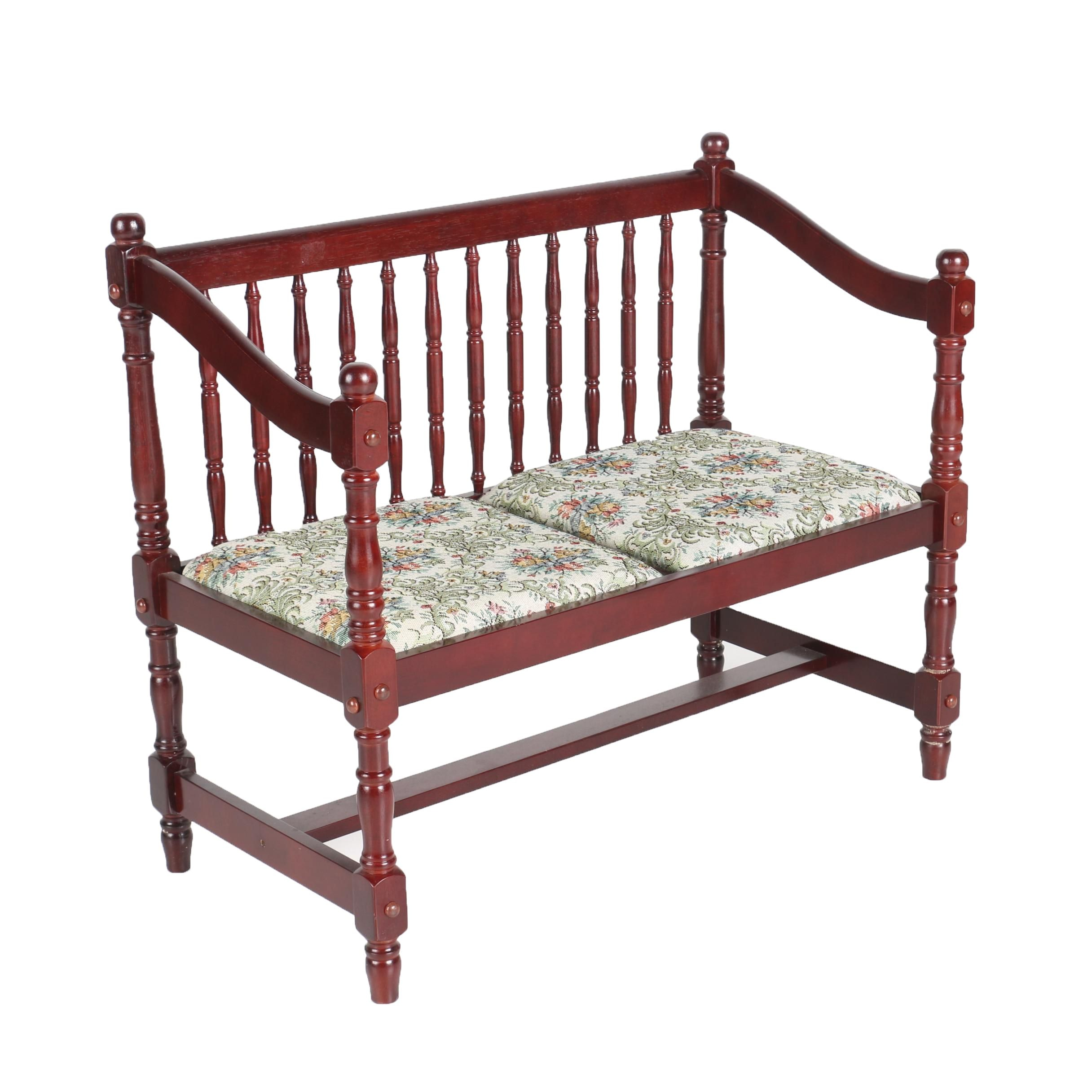 Spindle Back Bench with Floral Upholstery