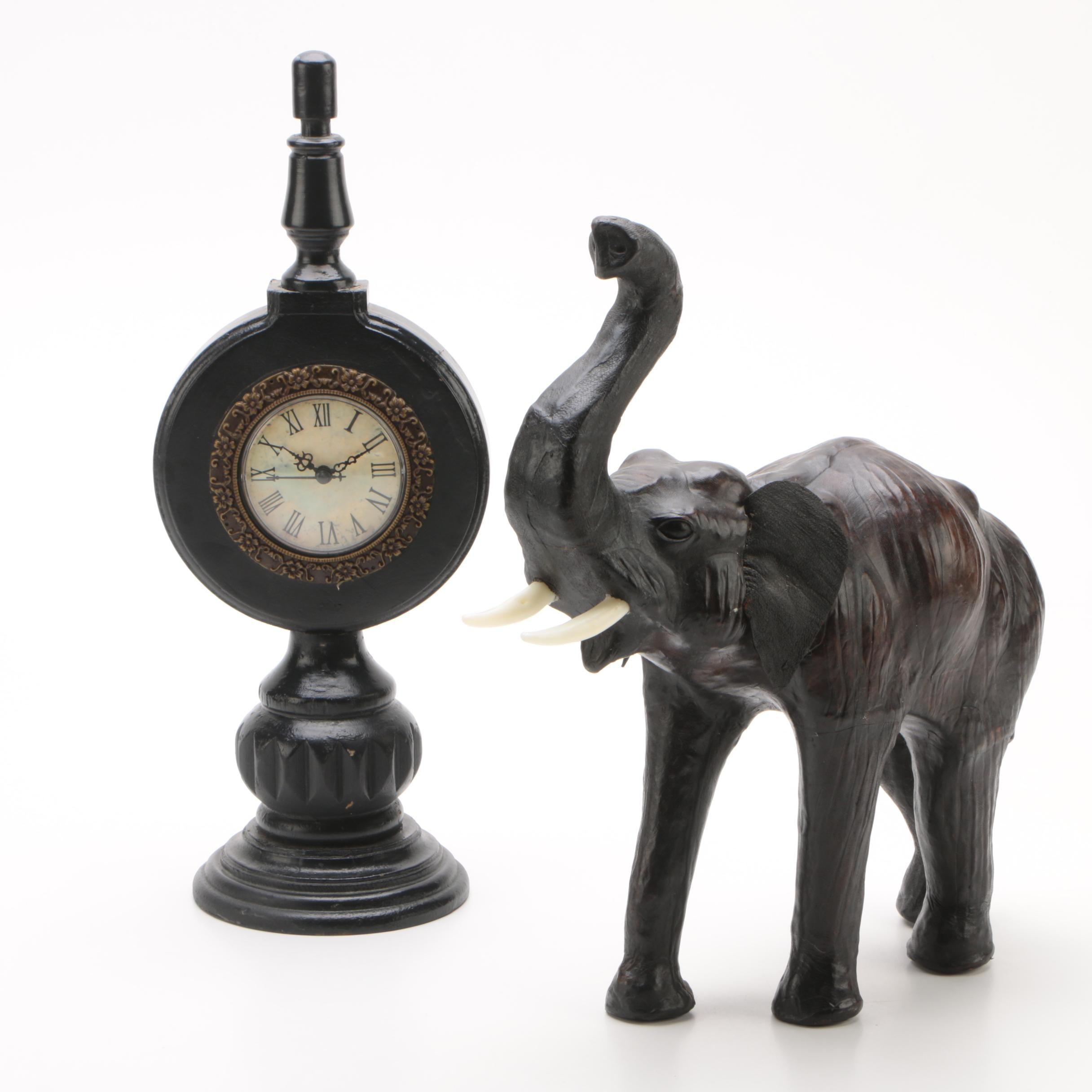 Mantel Clock with Elephant Decor