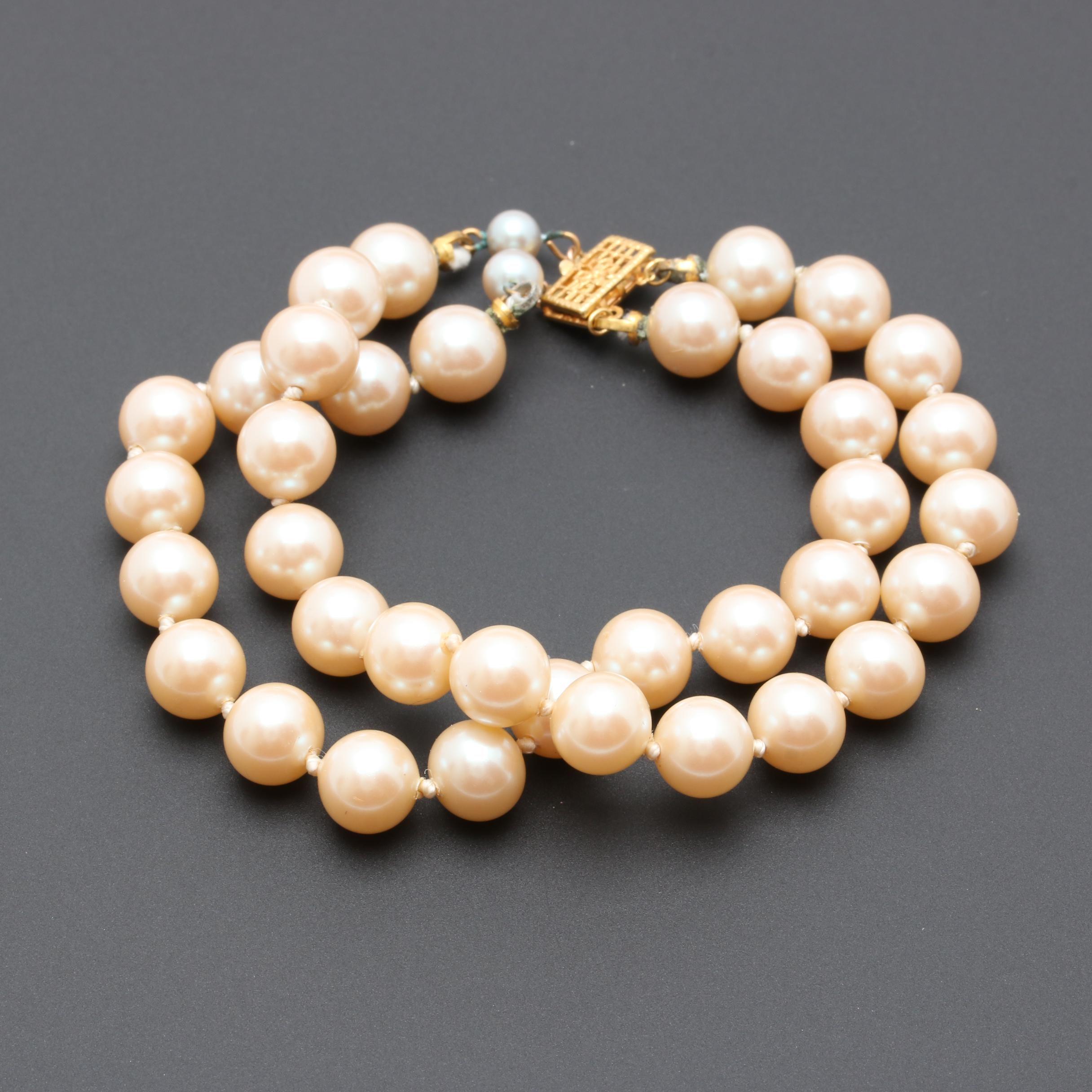14K Yellow Gold Imitation Pearl Dual Strand Bracelet