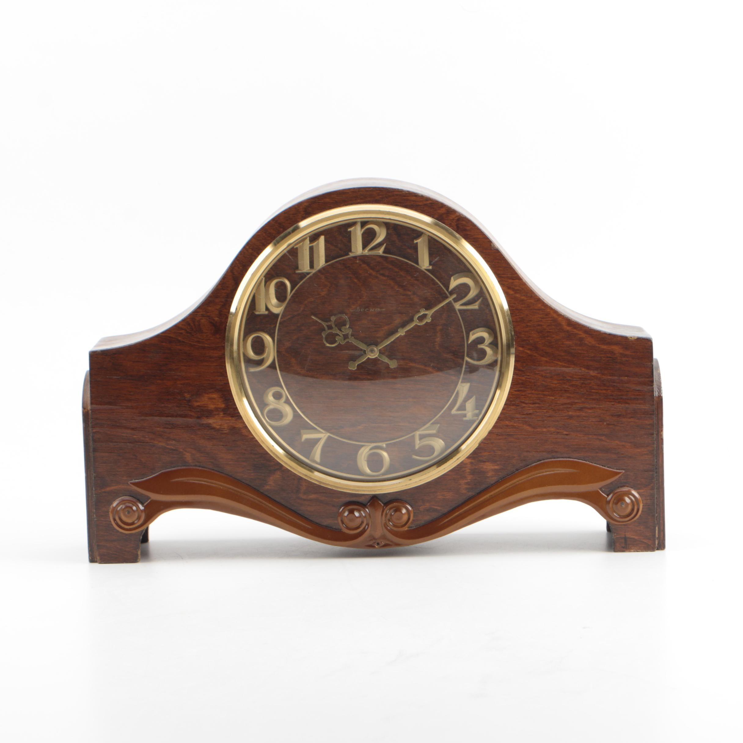 Becha Art Deco Style Wood Clock
