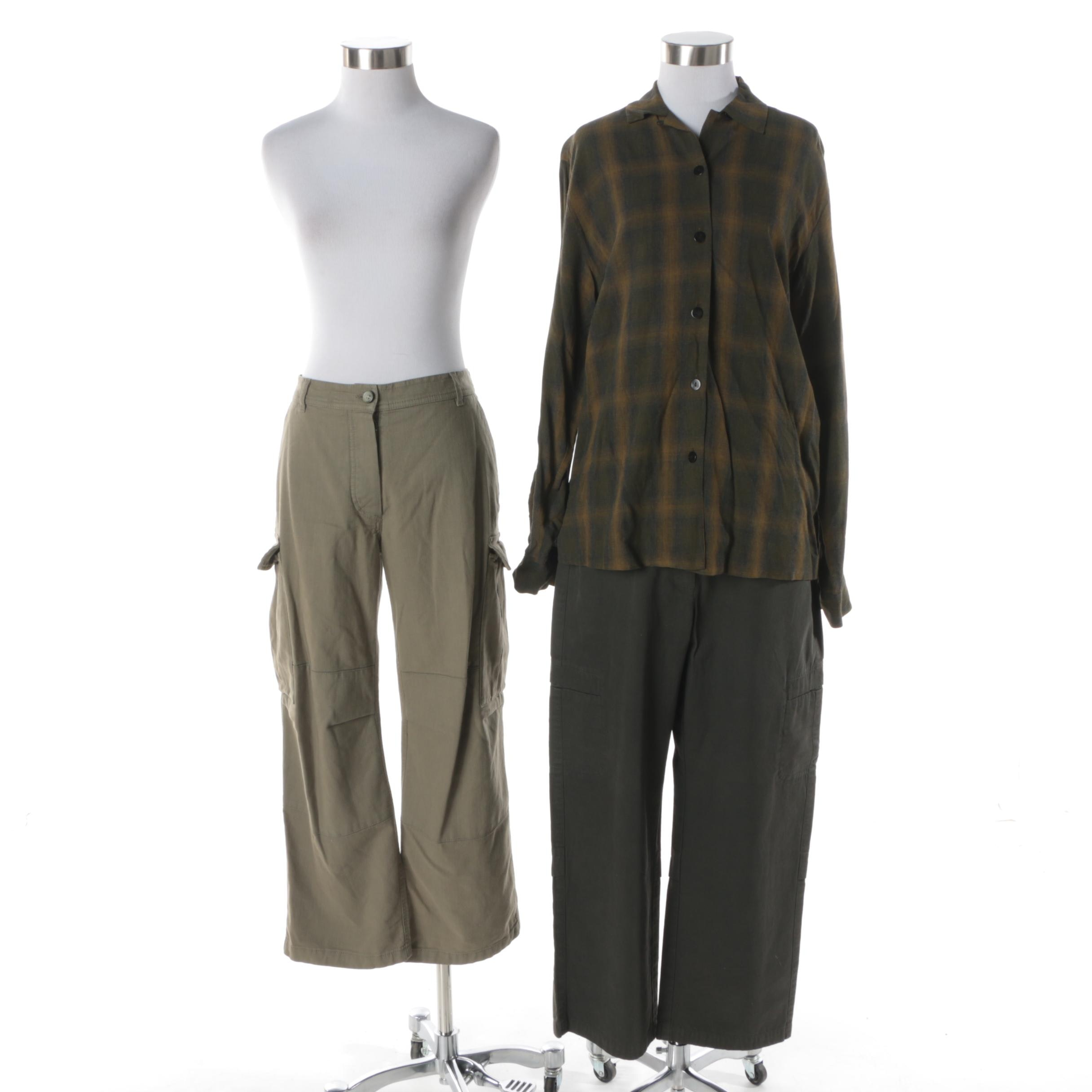 Women's Cargo Pants and Button-Front Shirt Including Piazza Sempione