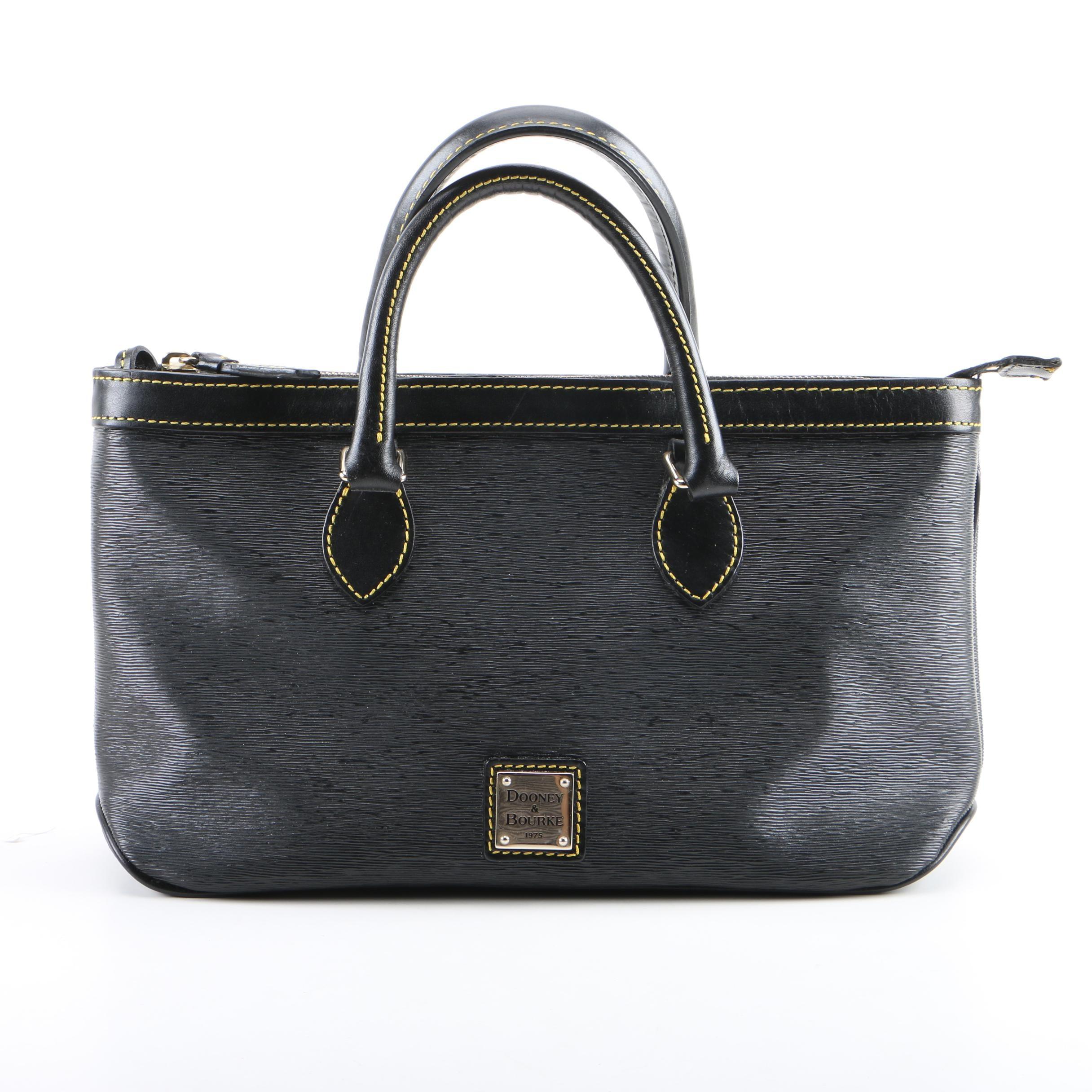 Dooney & Bourke Black Textured Leather Top Handle Satchel