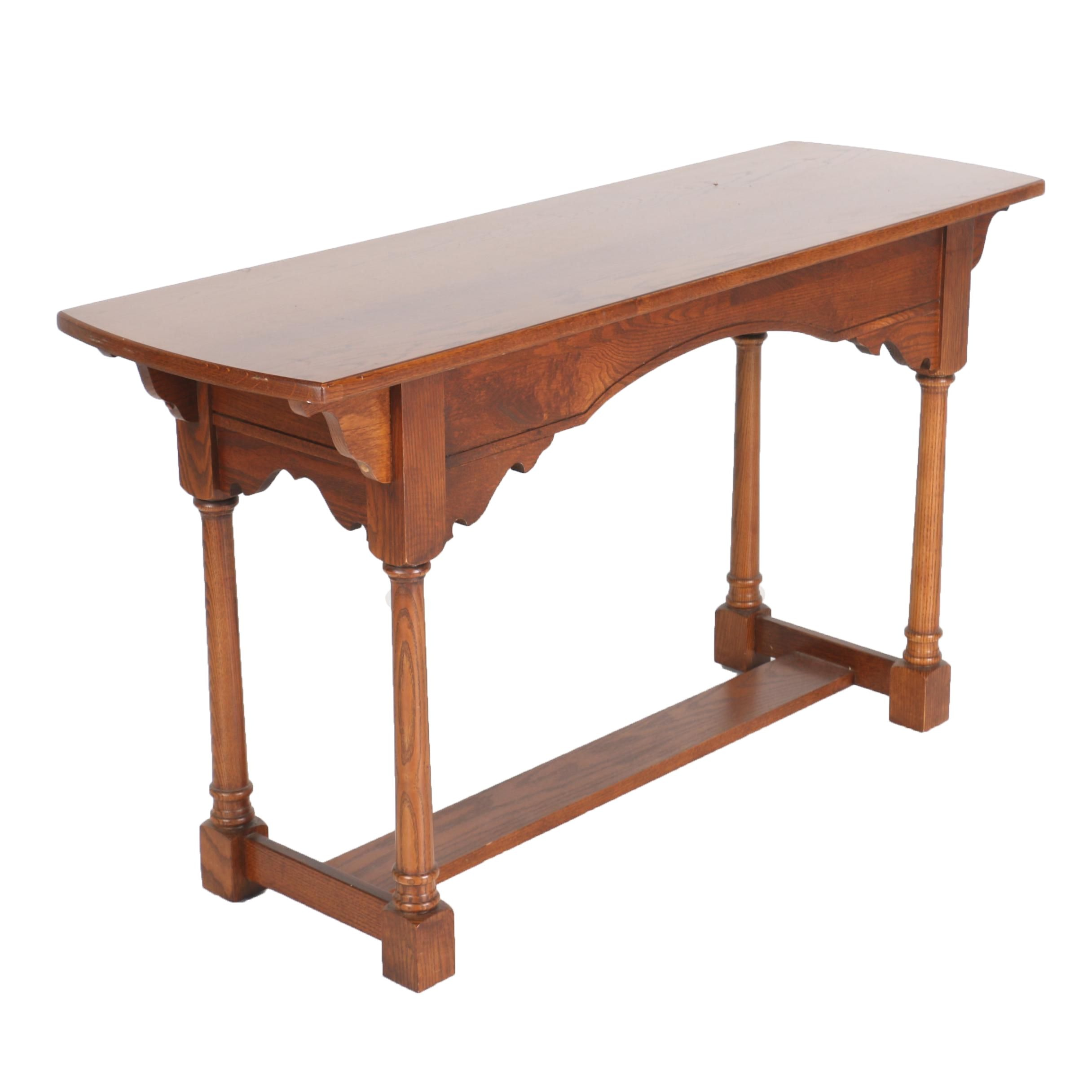Oak Sofa Table with Scallop Arched Apron