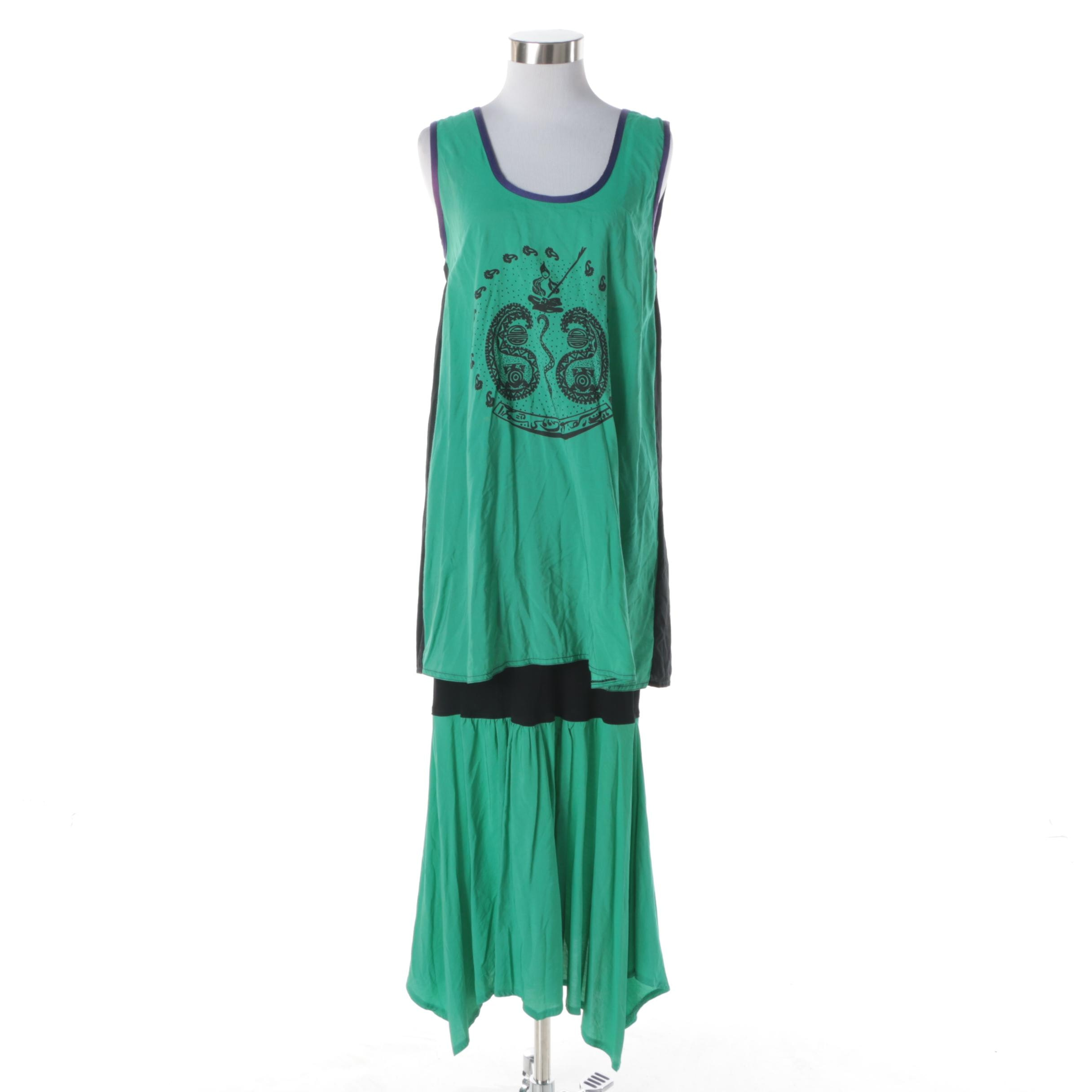 Creola Green and Black Silk Sleeveless Dress