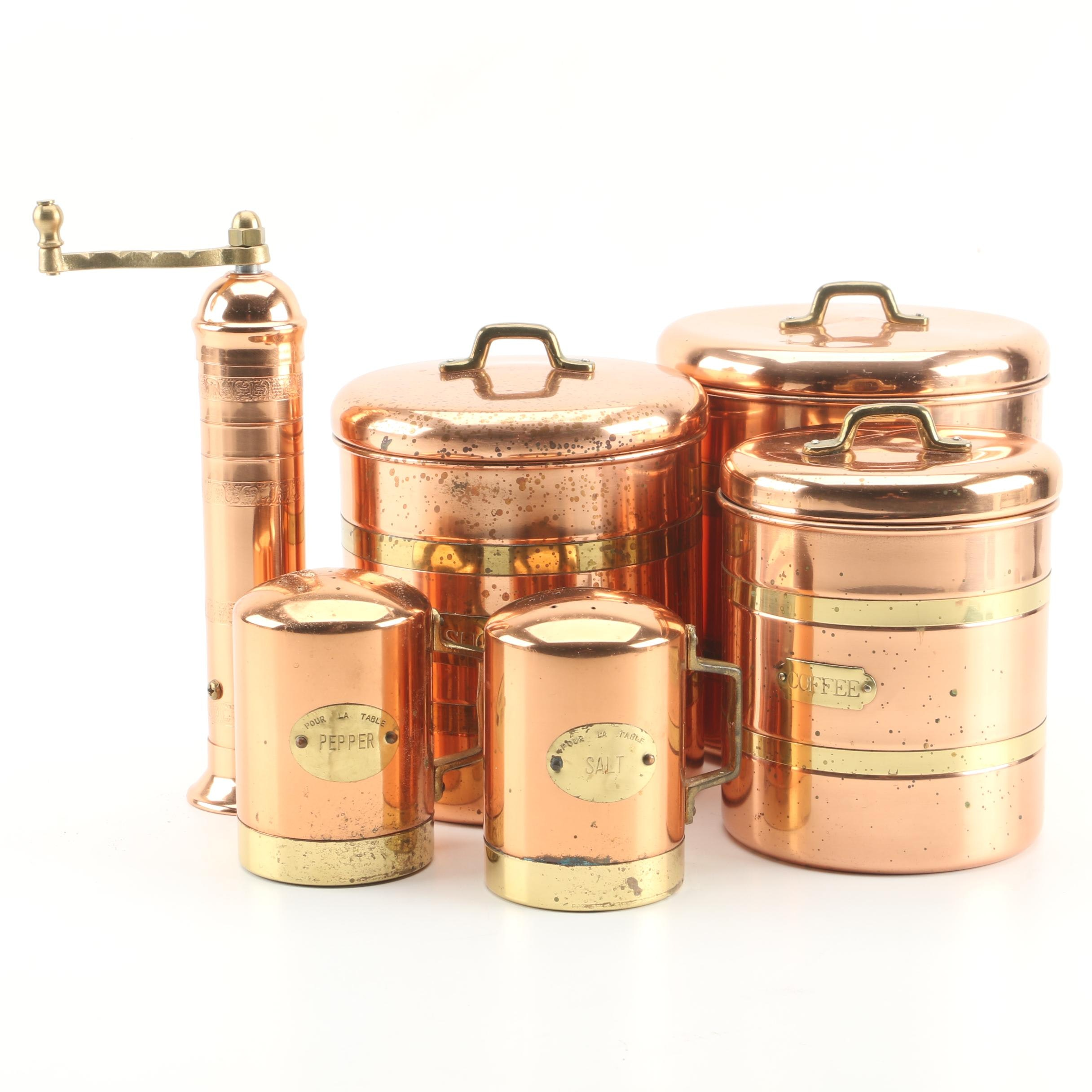 Copper and Brass Canisters Including a Pepper Mill and Salt and Pepper Shakers