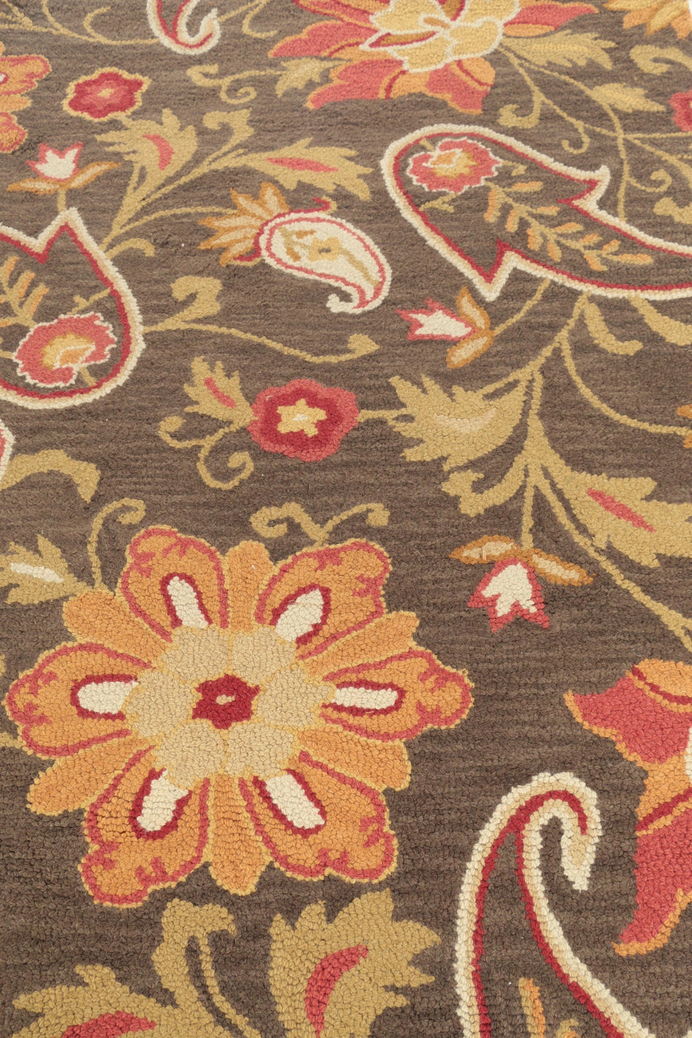 Hand Hooked Indian Quot Jacobean Floral Quot Wool Area Rug By