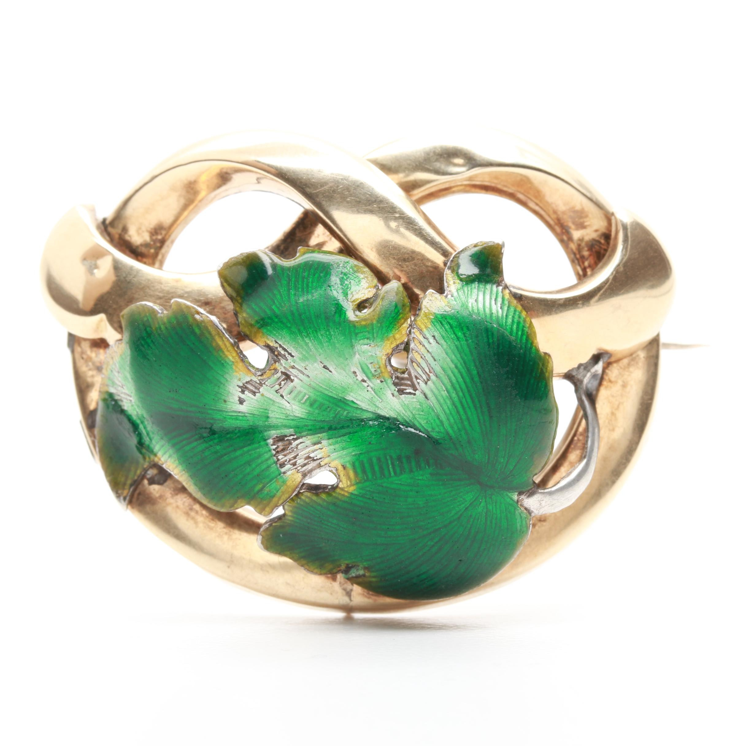 10K Yellow Gold and Sterling Silver Enamel Converter Brooch