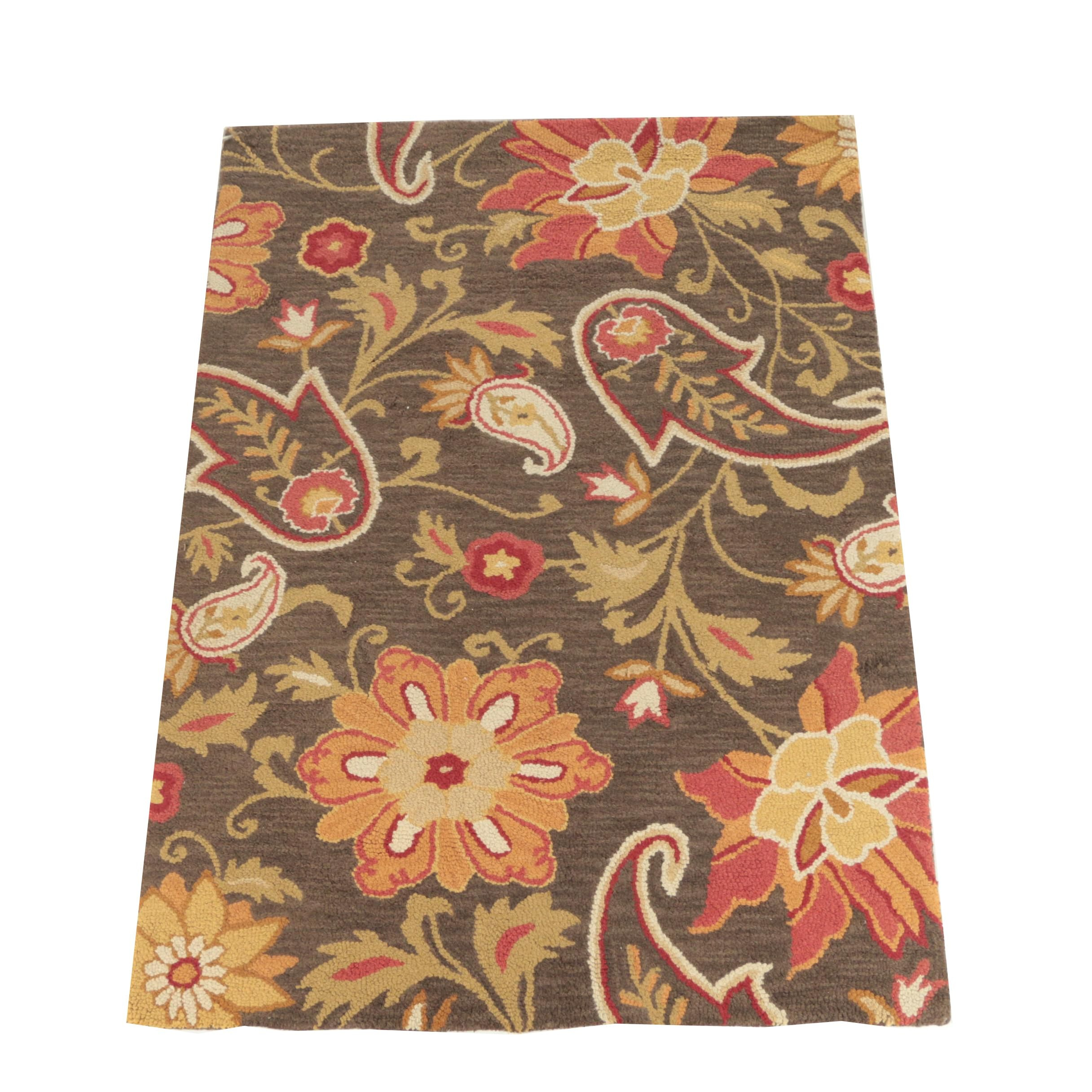 "Hand-Hooked Indian ""Jacobean Floral"" Wool Area Rug by Fieldcrest Luxury"