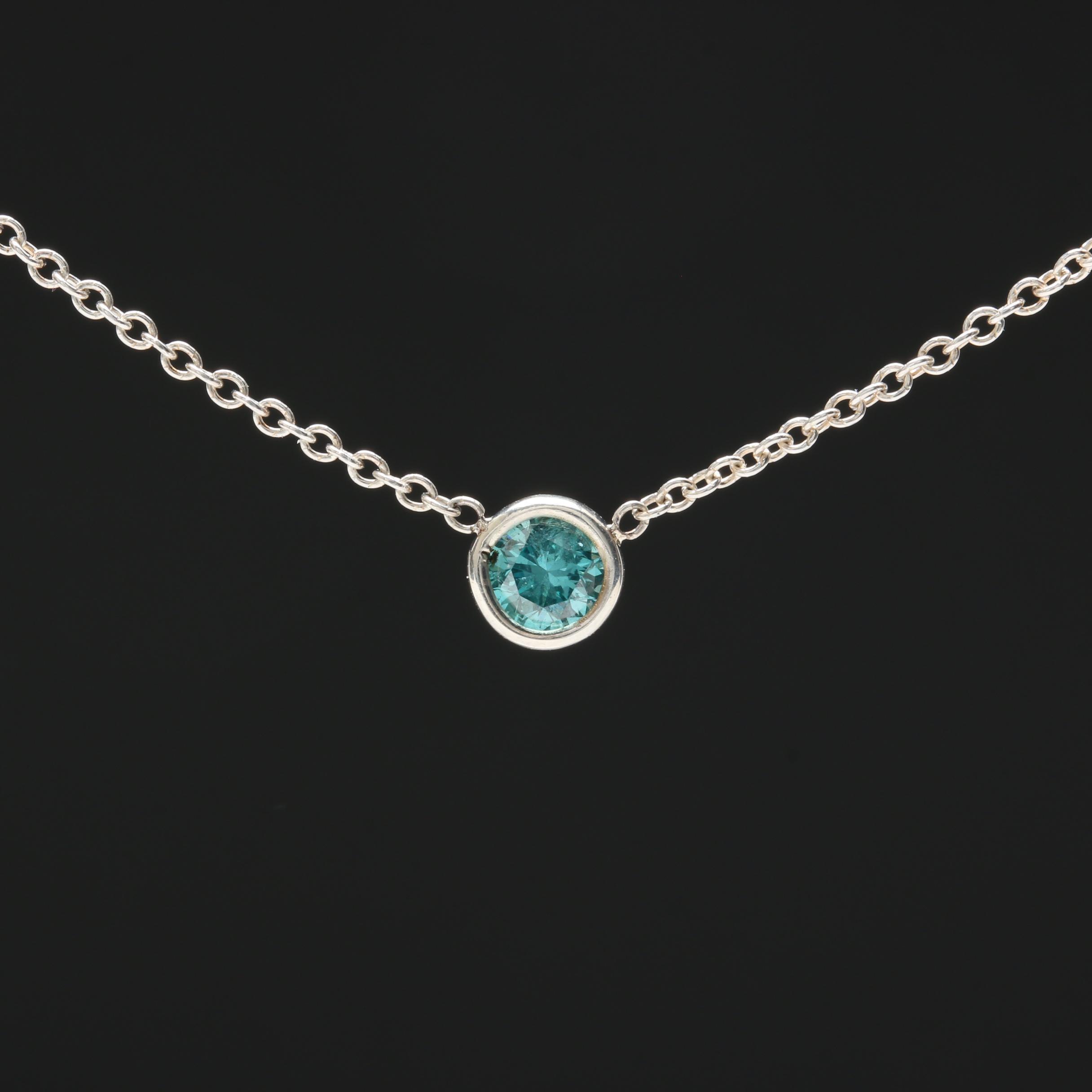 Sterling Silver Blue Diamond Station Necklace