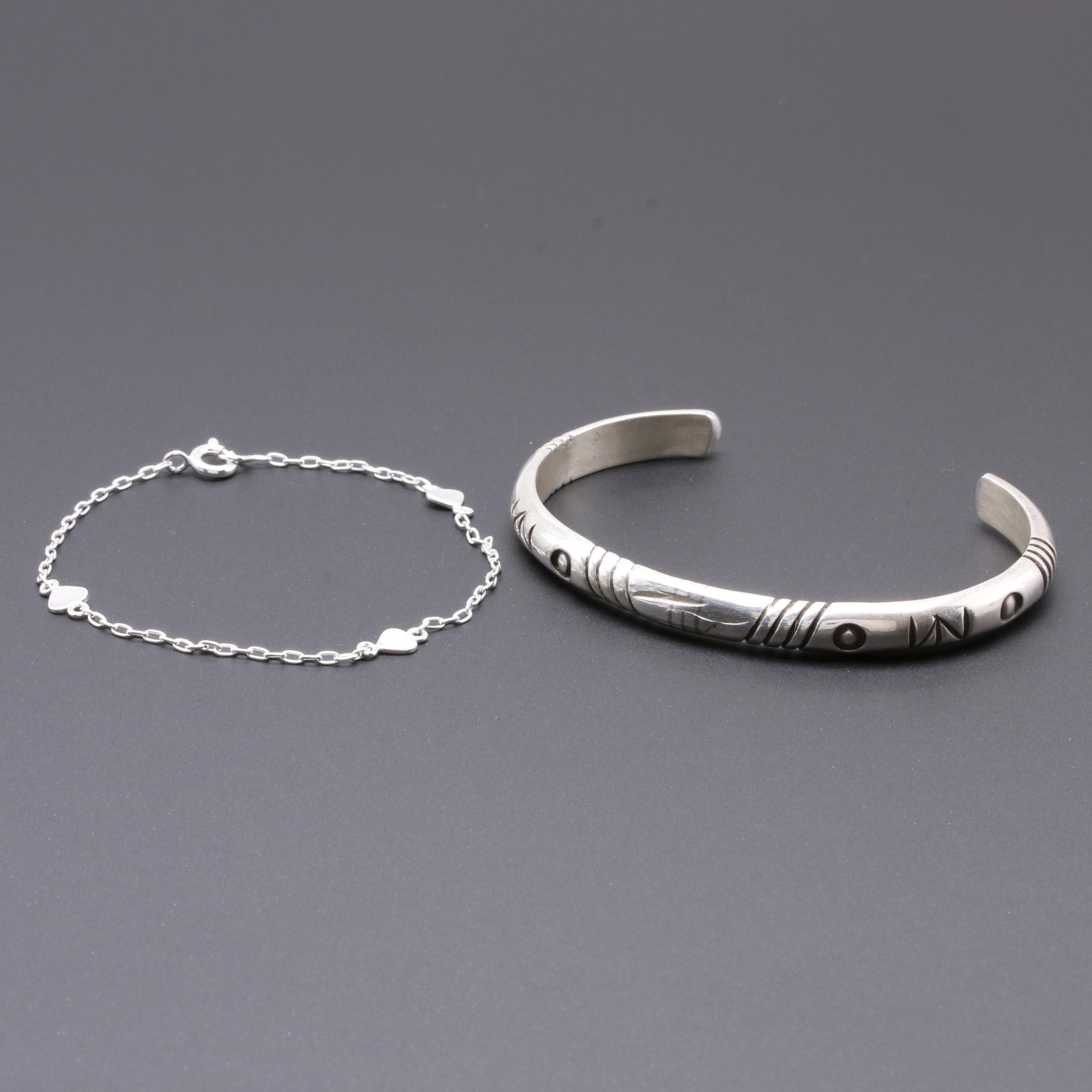 Sterling Silver Bracelets Featuring Jennifer Curtis Navajo Diné Cuff