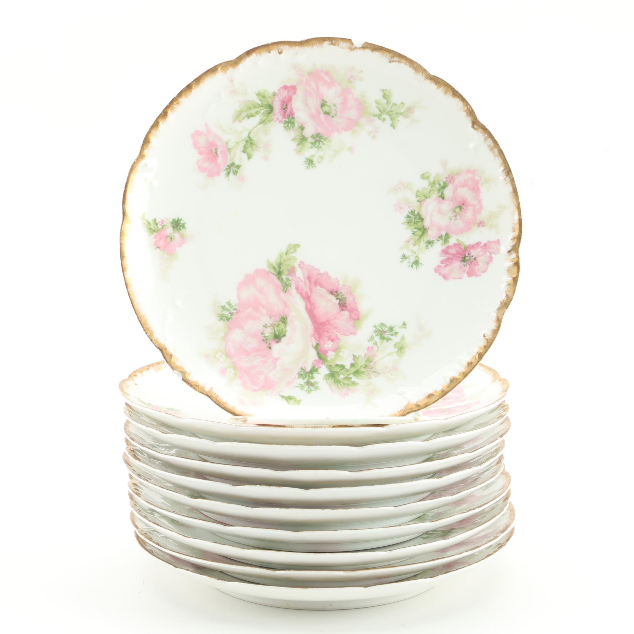 Vintage Haviland & Co. Floral Themed  Porcelain Salad Plates