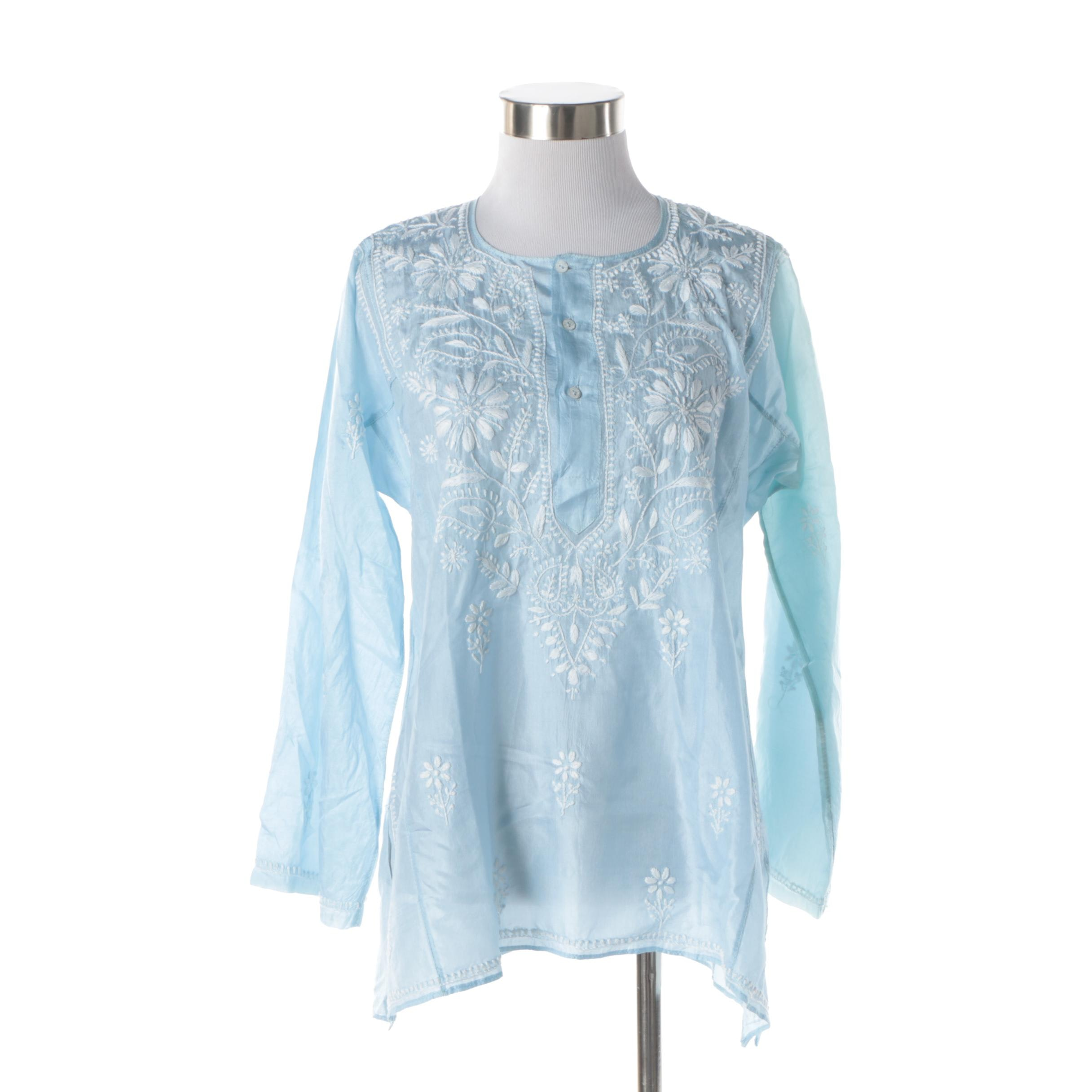 Women's L'Habilleur Embroidered Light Blue Silk Blouse