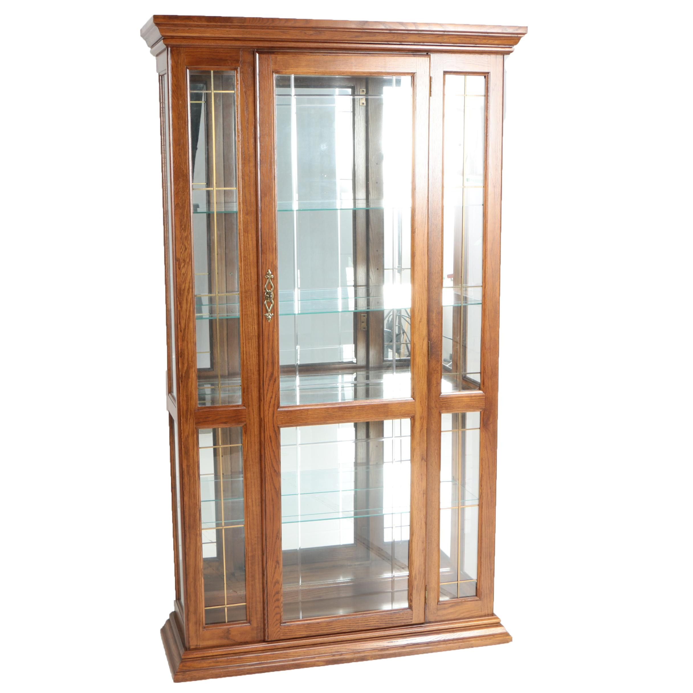 Illuminated Glass and Wood Cabinet
