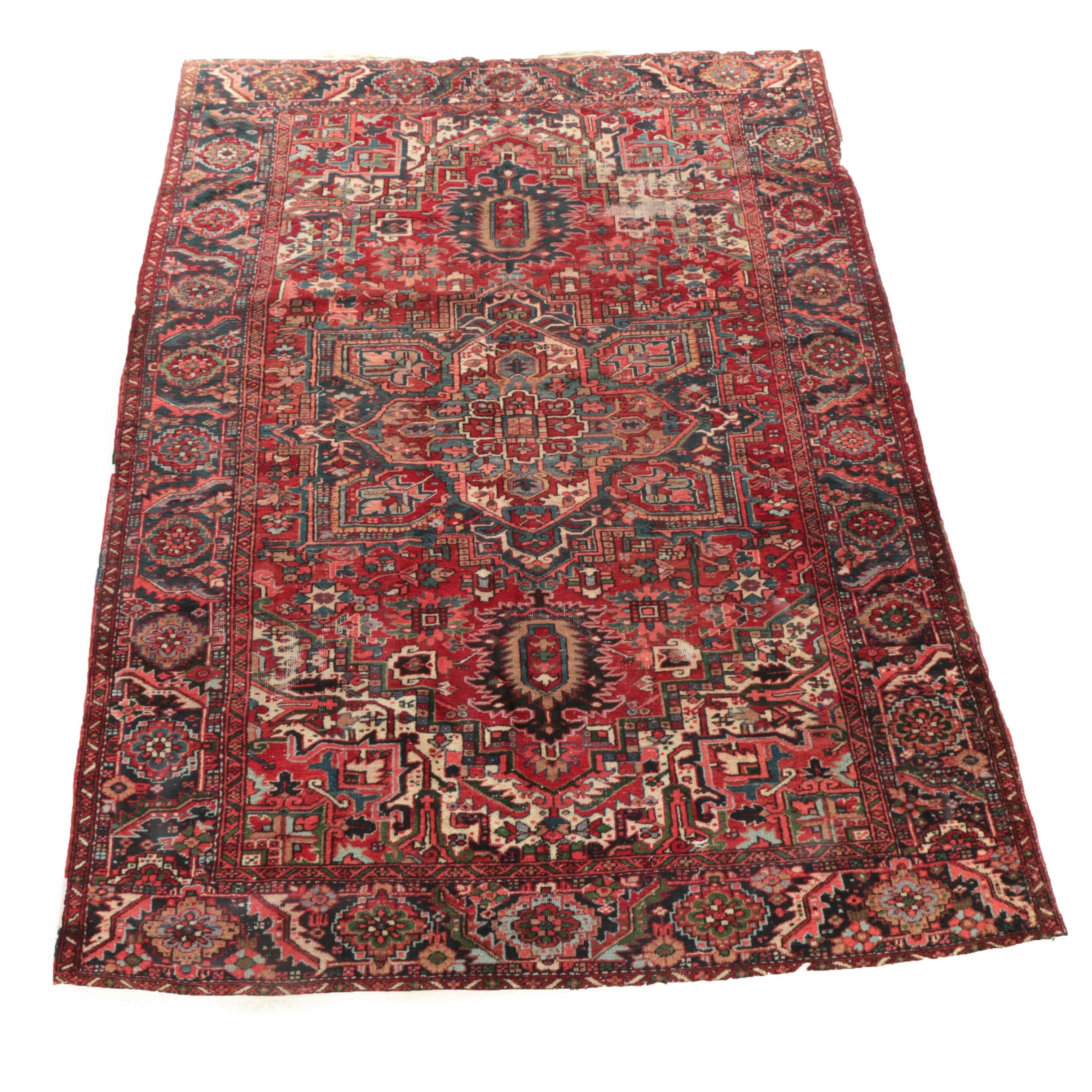 Semi-Antique Hand-Knotted Persian Heriz Serapi Wool Room Sized Rug