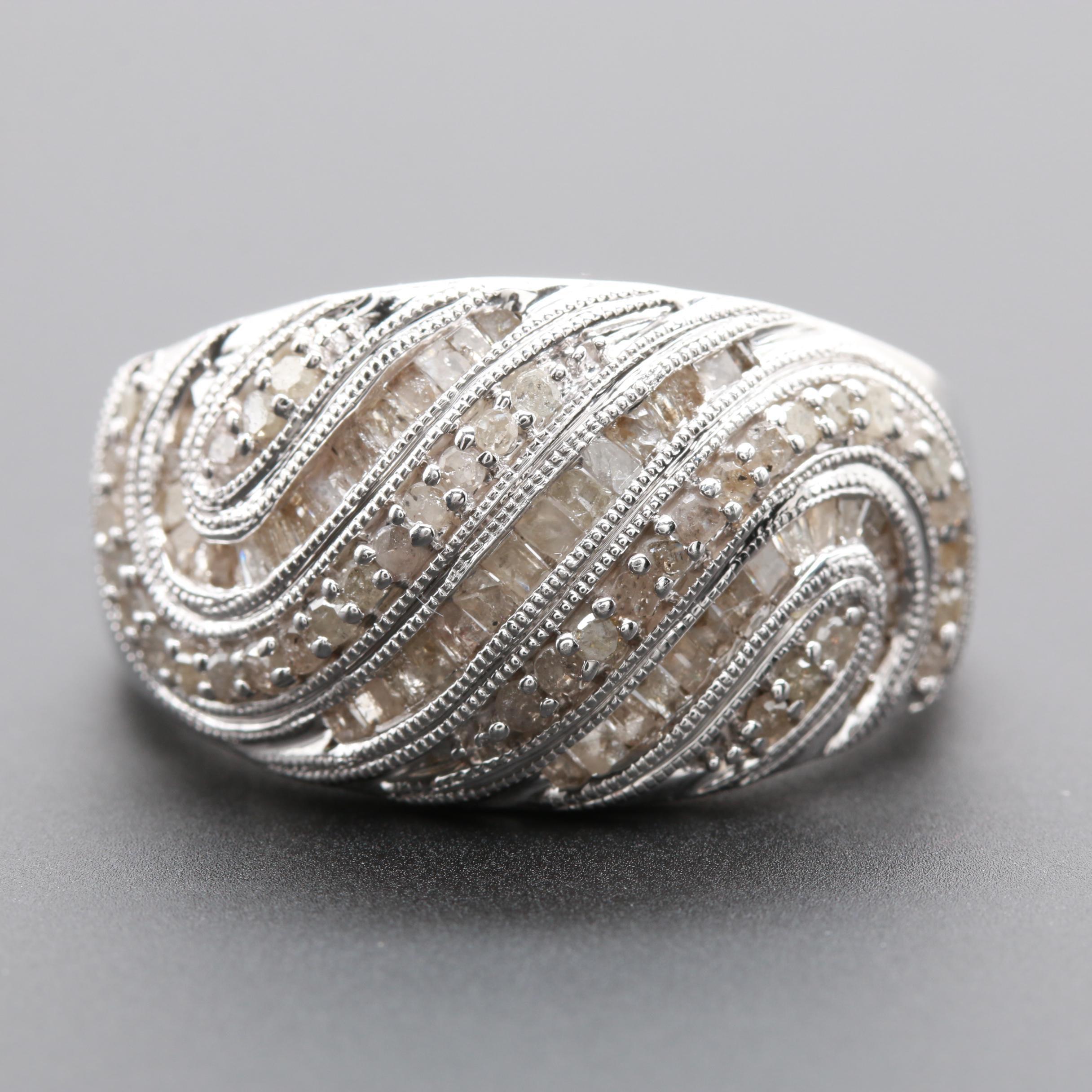 Sterling Silver 0.99 CTW Diamond Ring