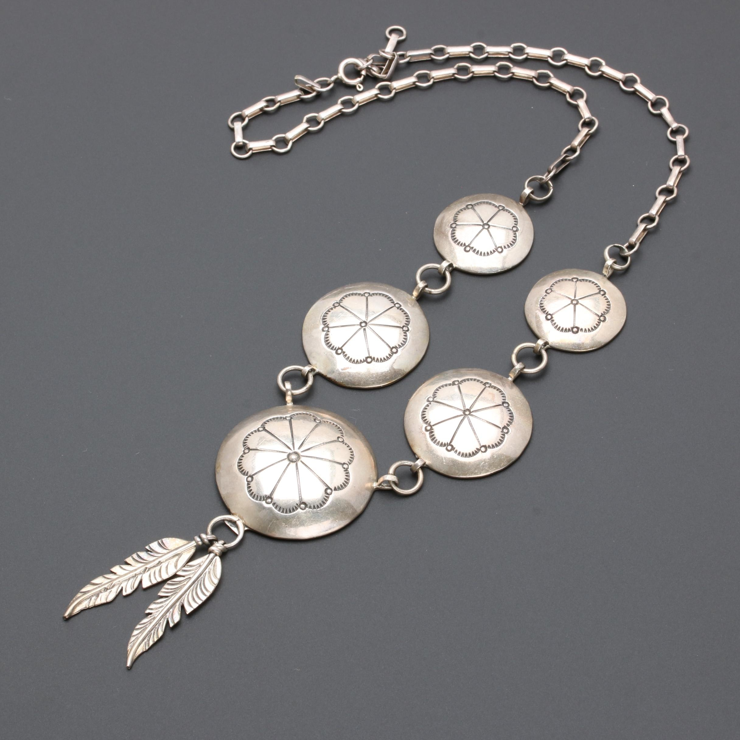 Fred Guerro Navajo Diné Sterling Silver Concho Necklace