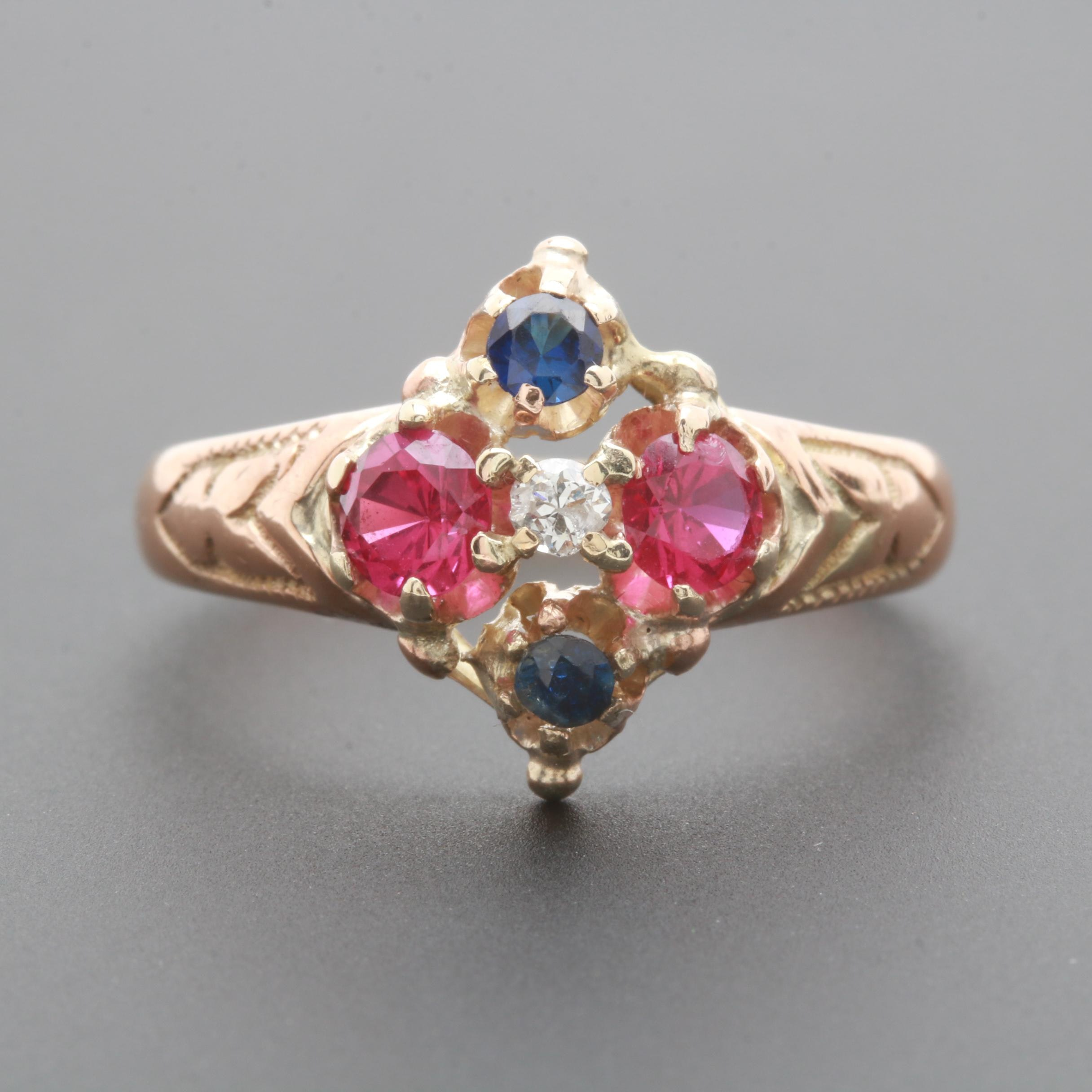 10K Yellow Gold Synthetic Ruby, Synthetic Sapphire and Diamond Ring