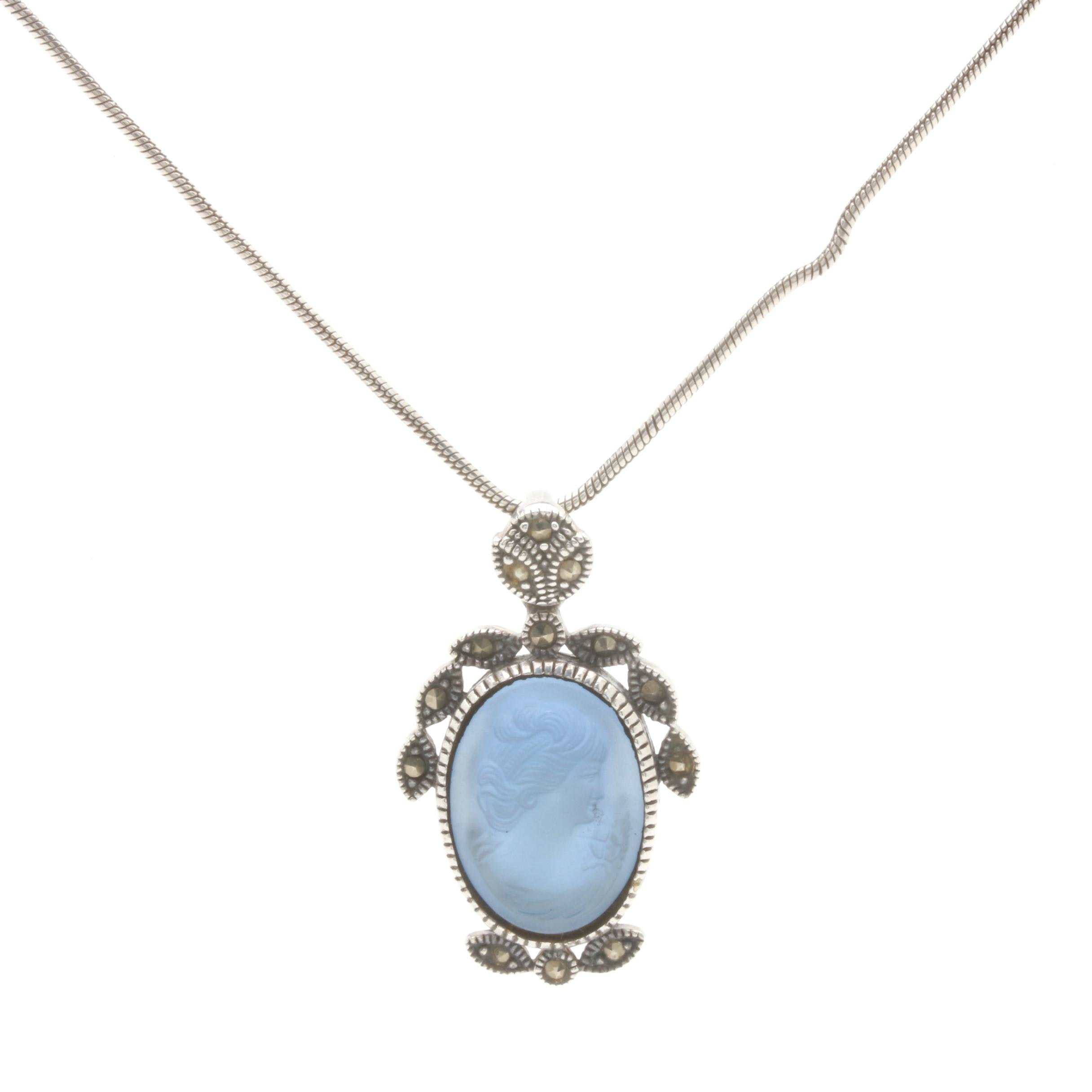 Art Deco Style Sterling Silver Glass and Marcasite Cameo Pendant Necklace