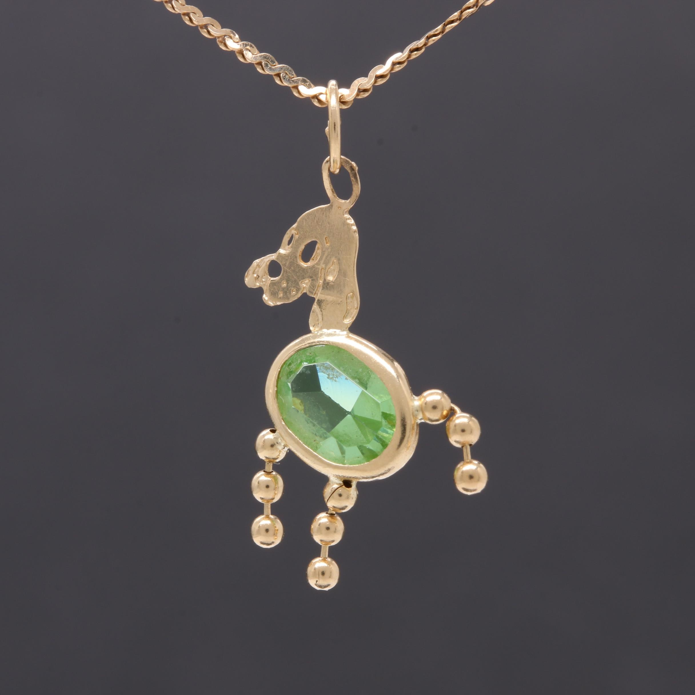 14K Yellow Gold Green Glass Dog Pendant Necklace