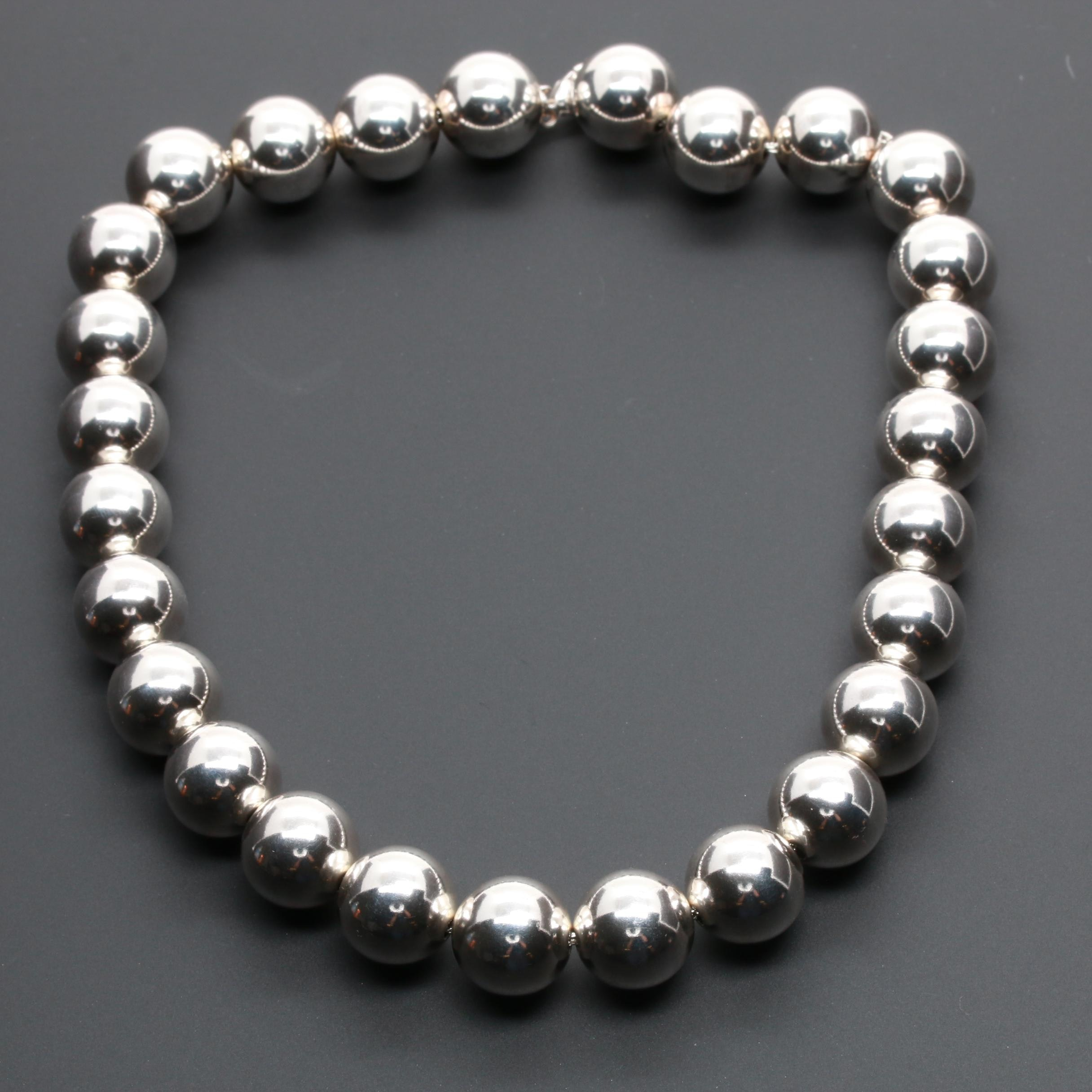 Tiffany & Co. Sterling Silver Round Beaded Necklace