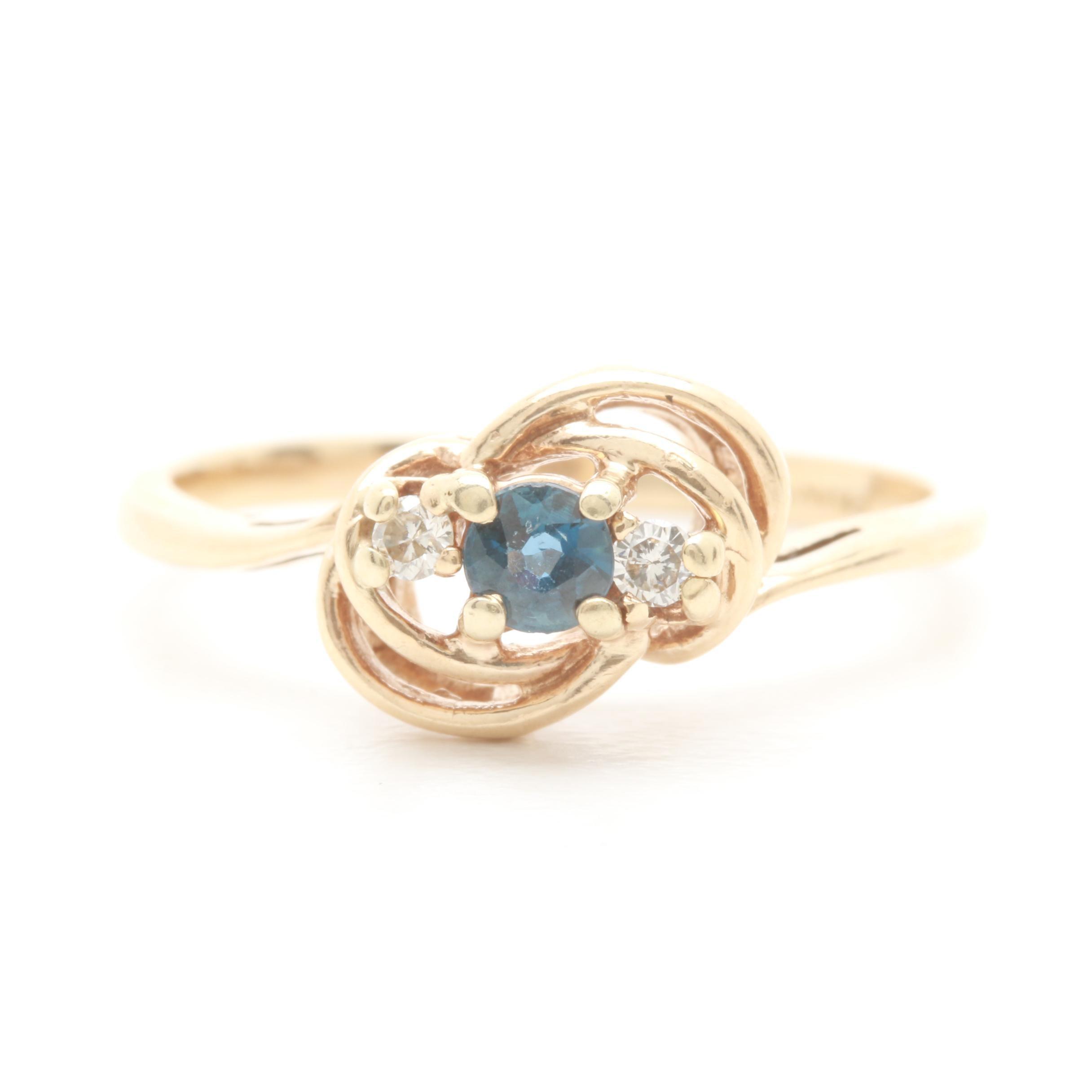 10K Yellow Gold Blue Sapphire and Diamond Ring