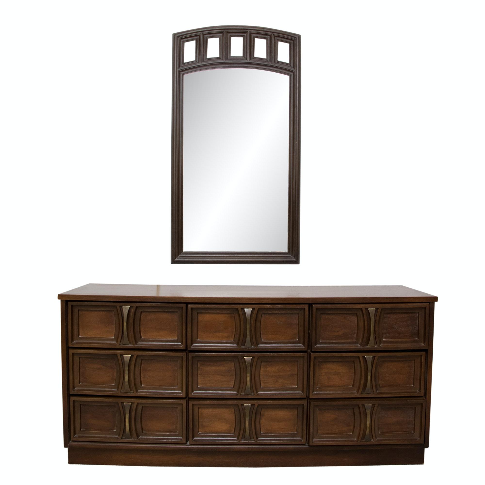 Mid Century Modern Dresser and Mirror
