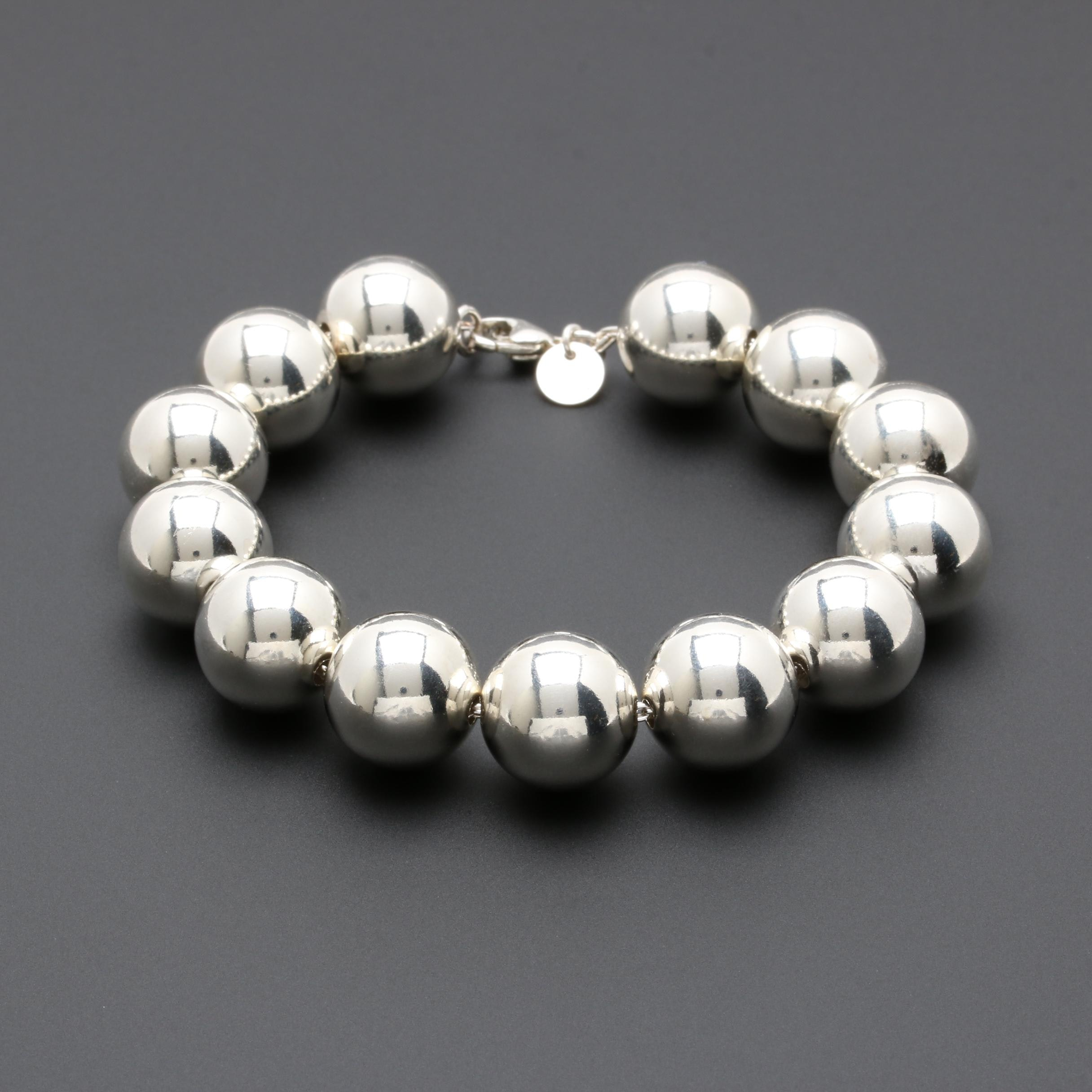 Tiffany & Co. Sterling Silver Round Beaded Bracelet