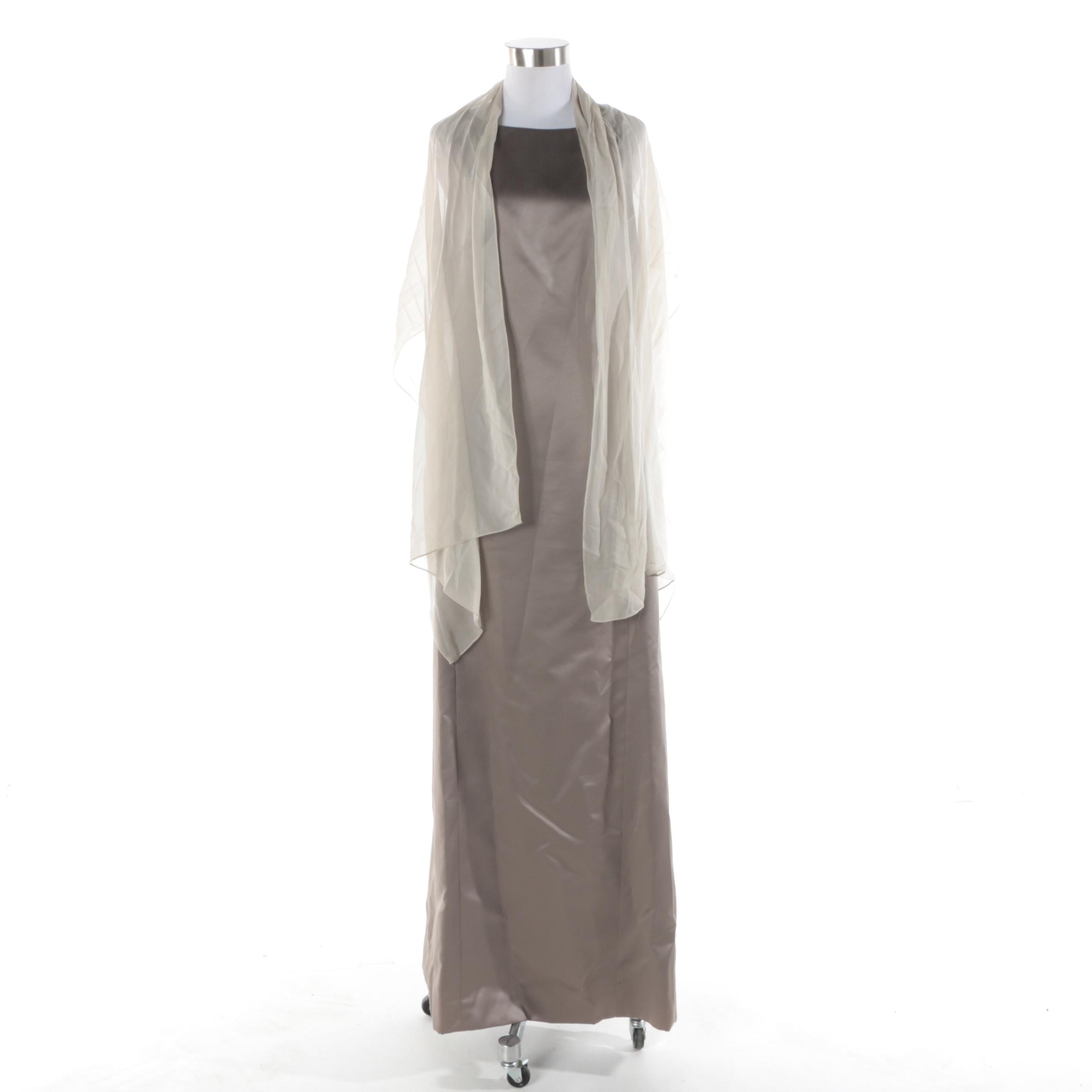 Vera Wang Grey Sleeveless Gown with Sheer Shawl