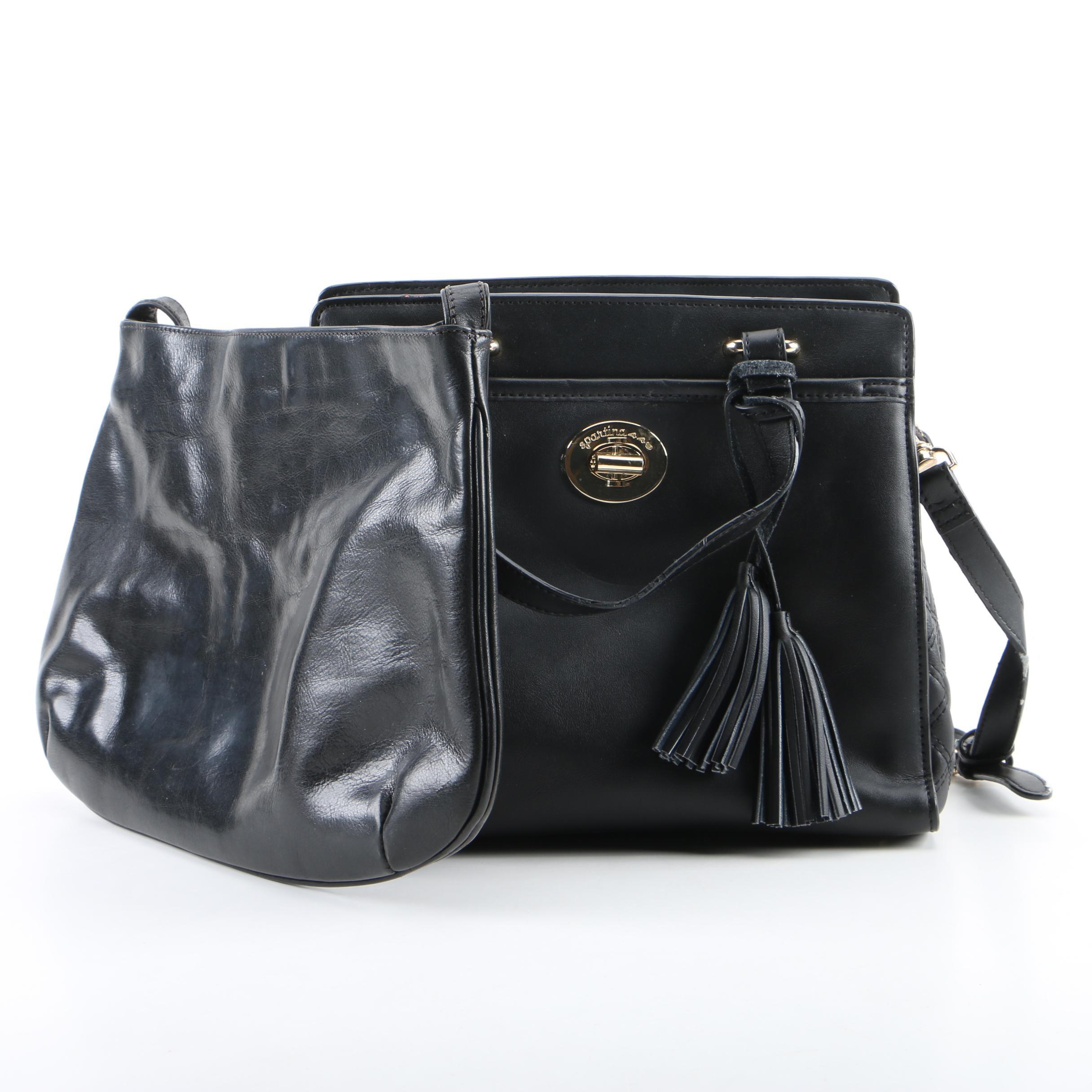 Spartina and La Sella Roma Black Leather Bags