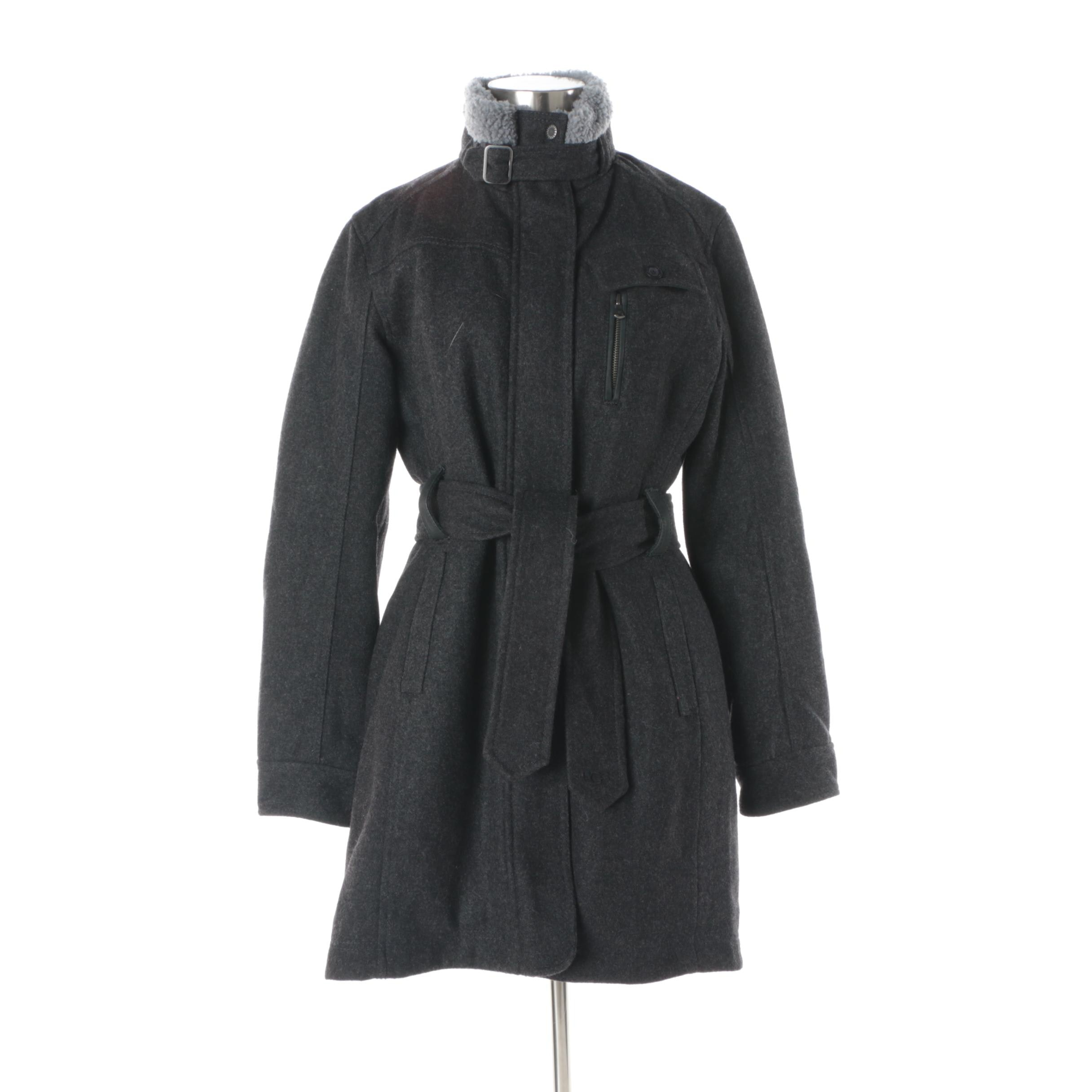 Women's UGG Australia Charcoal Wool Coat with Shearling Collar