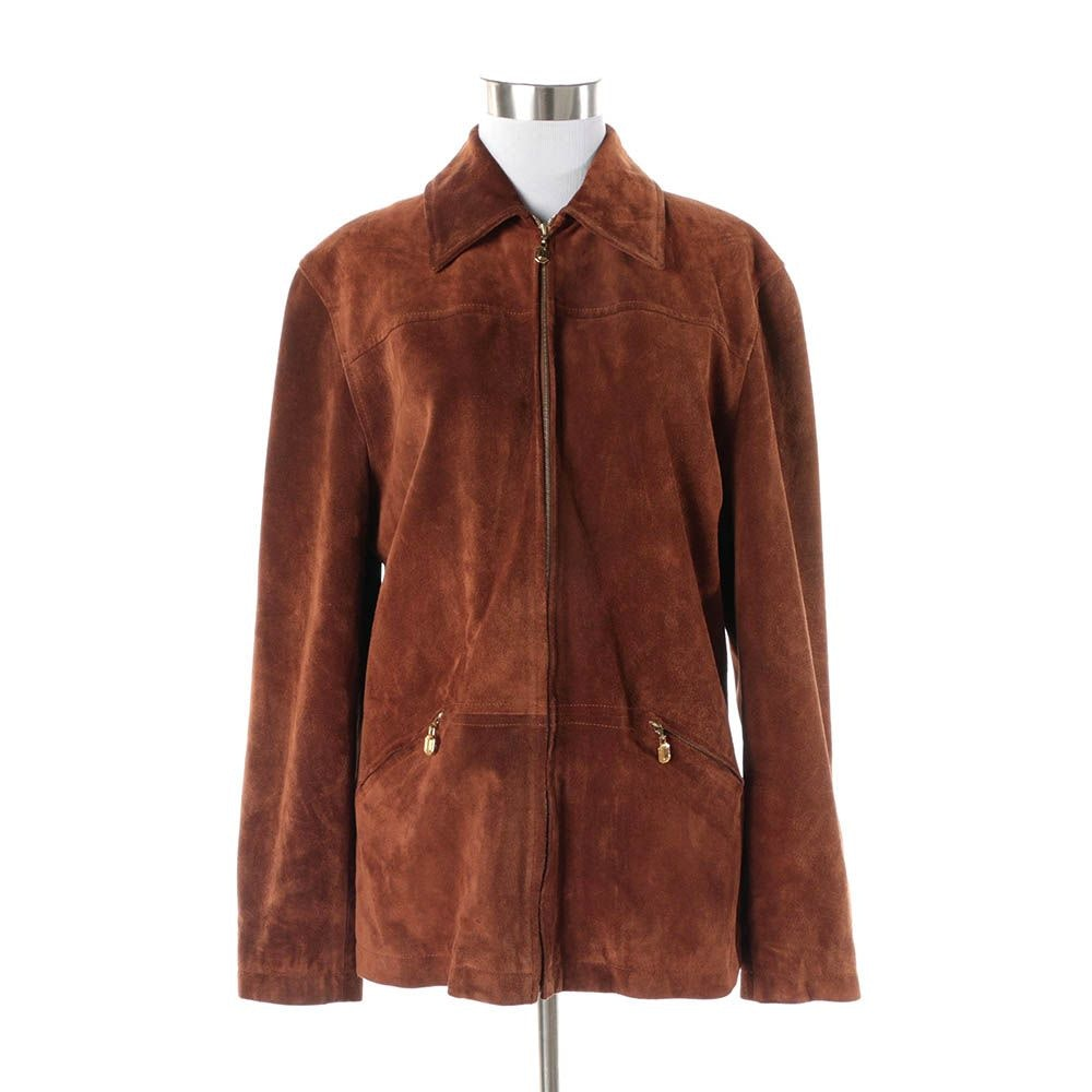 Women's St. John Sport Brown Suede Zip-Front Jacket
