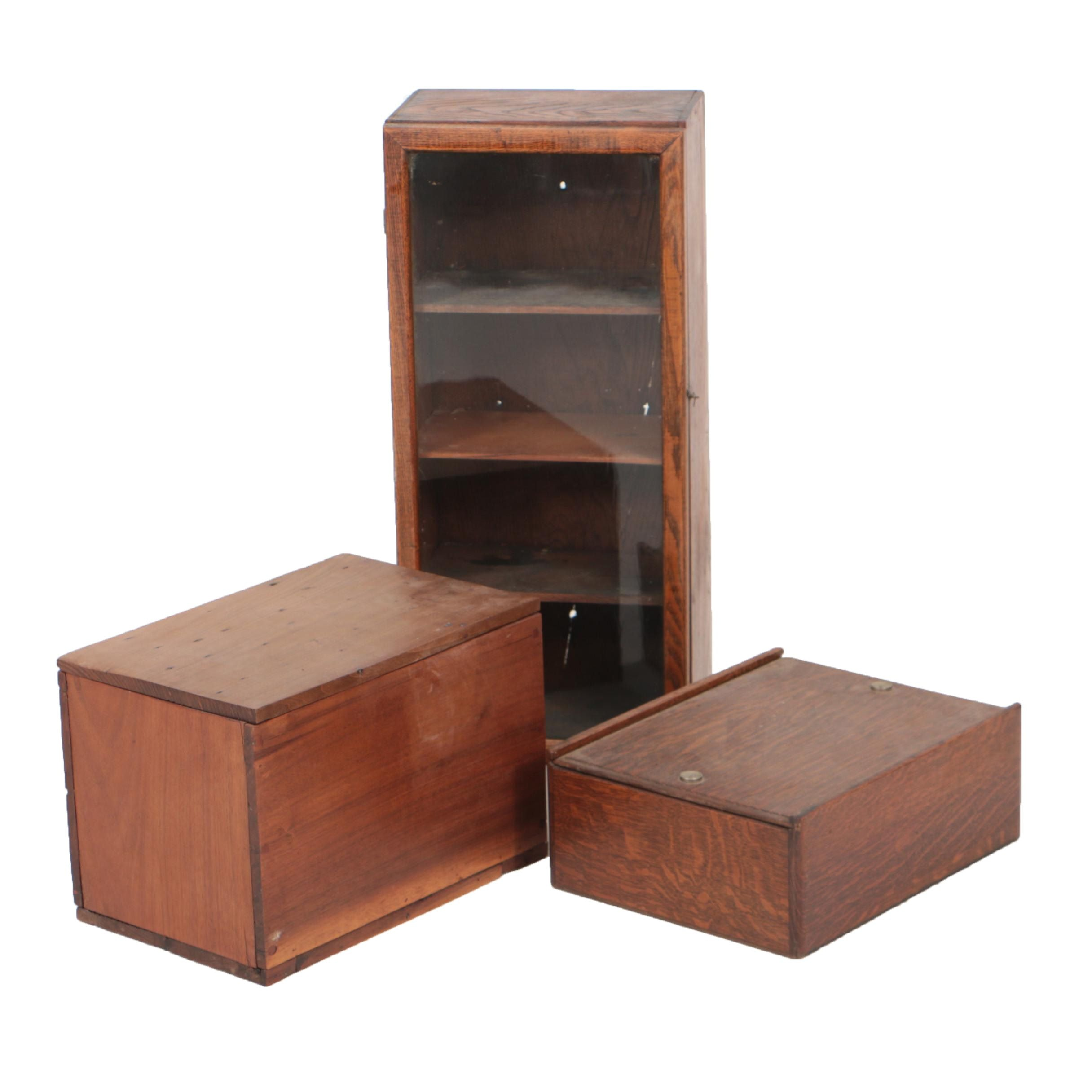 Vintage Oak and Walnut Boxes with Oak Display Case