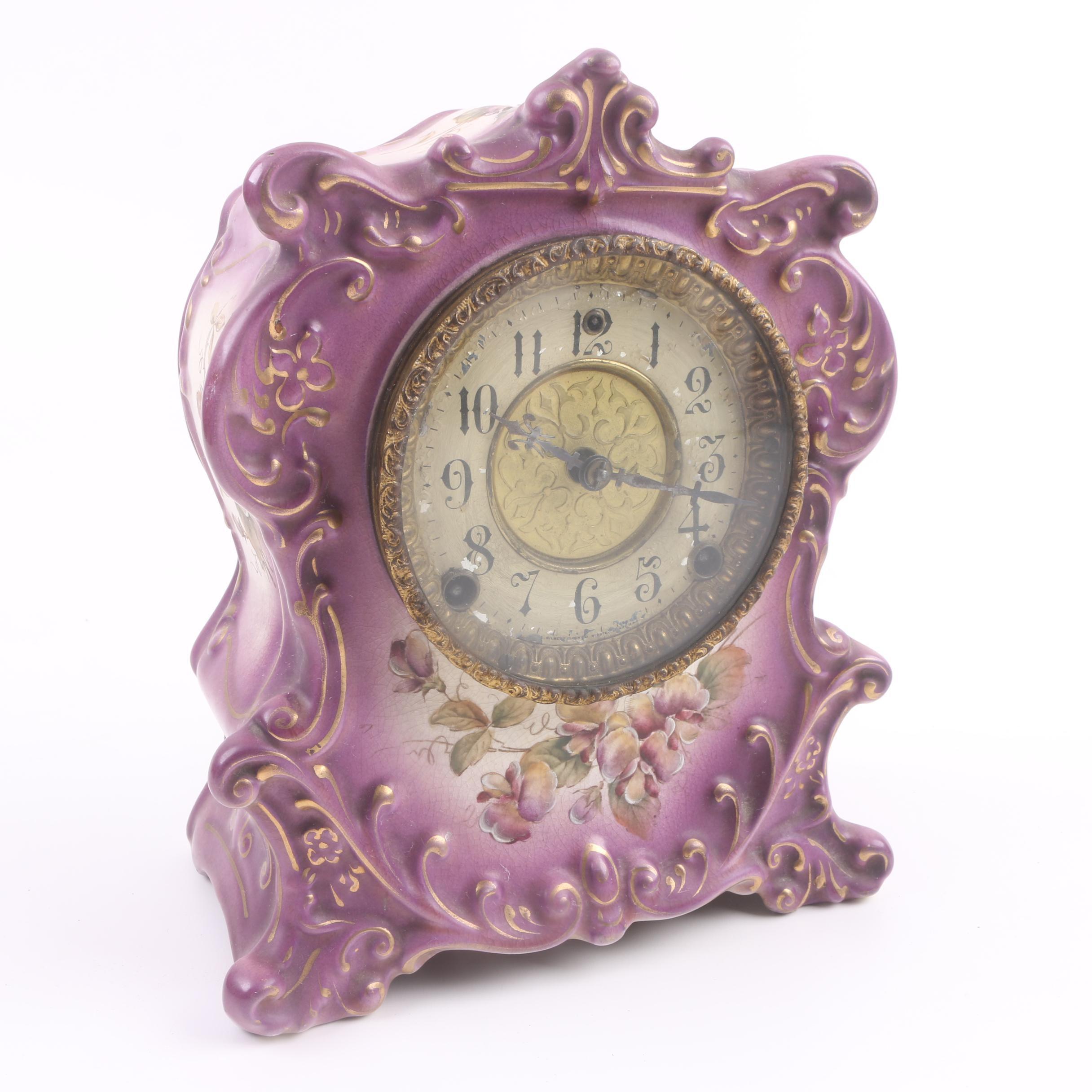 Circa 1900 Wm. L. Gilbert Clock Co. Porcelain Mantel Clock
