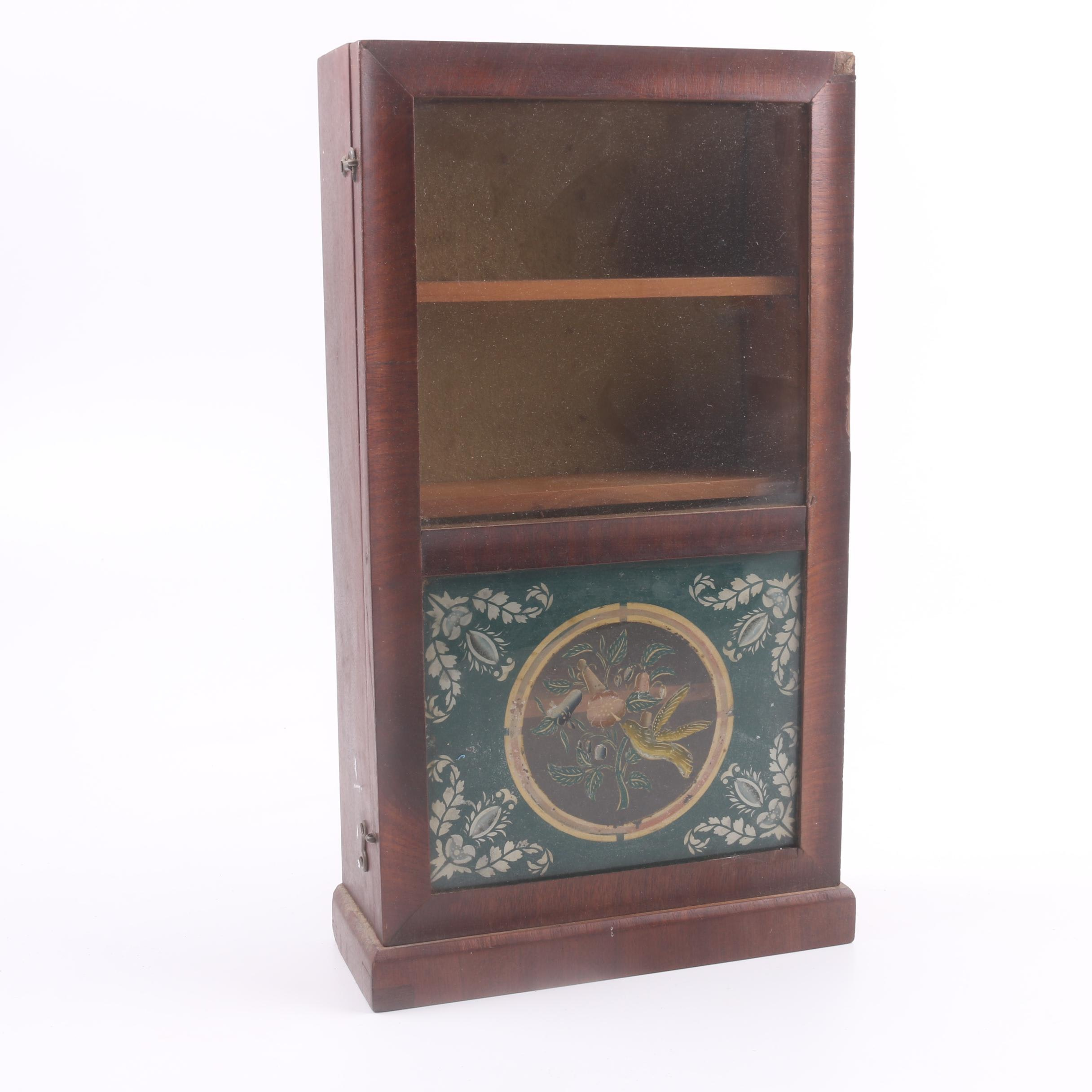 Antique Diminutive Clock Case Cabinet with Reverse Painted Panel