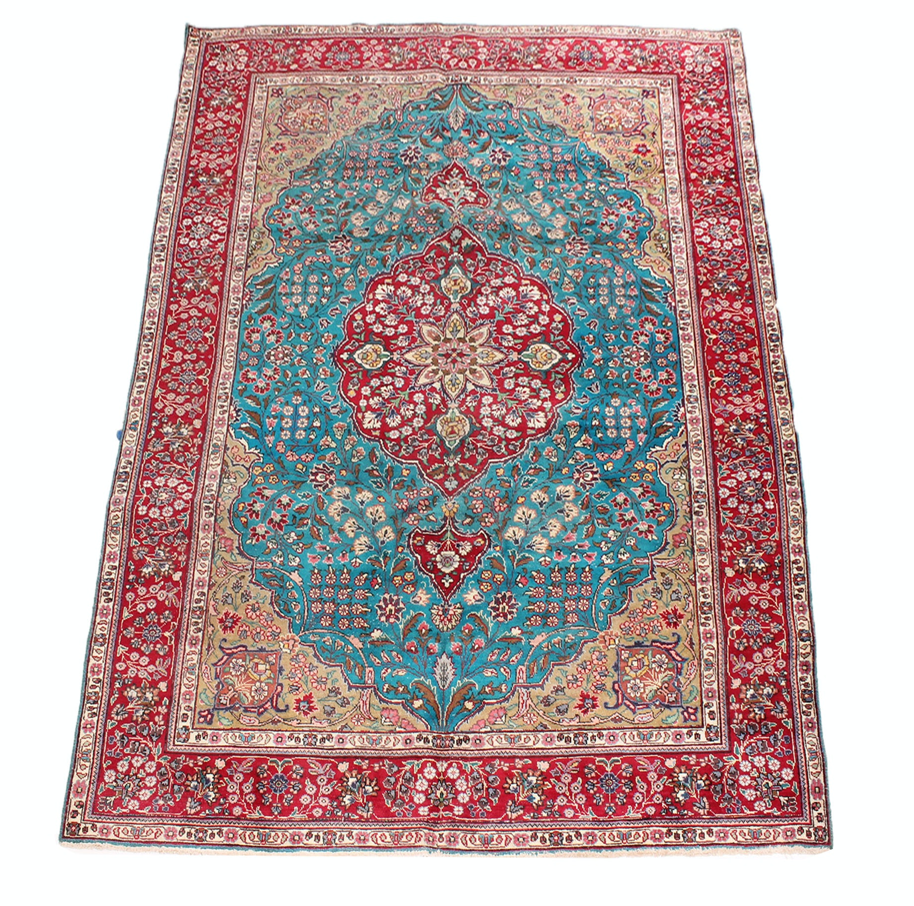 Vintage Hand Knotted Persian Qum Room Size Rug