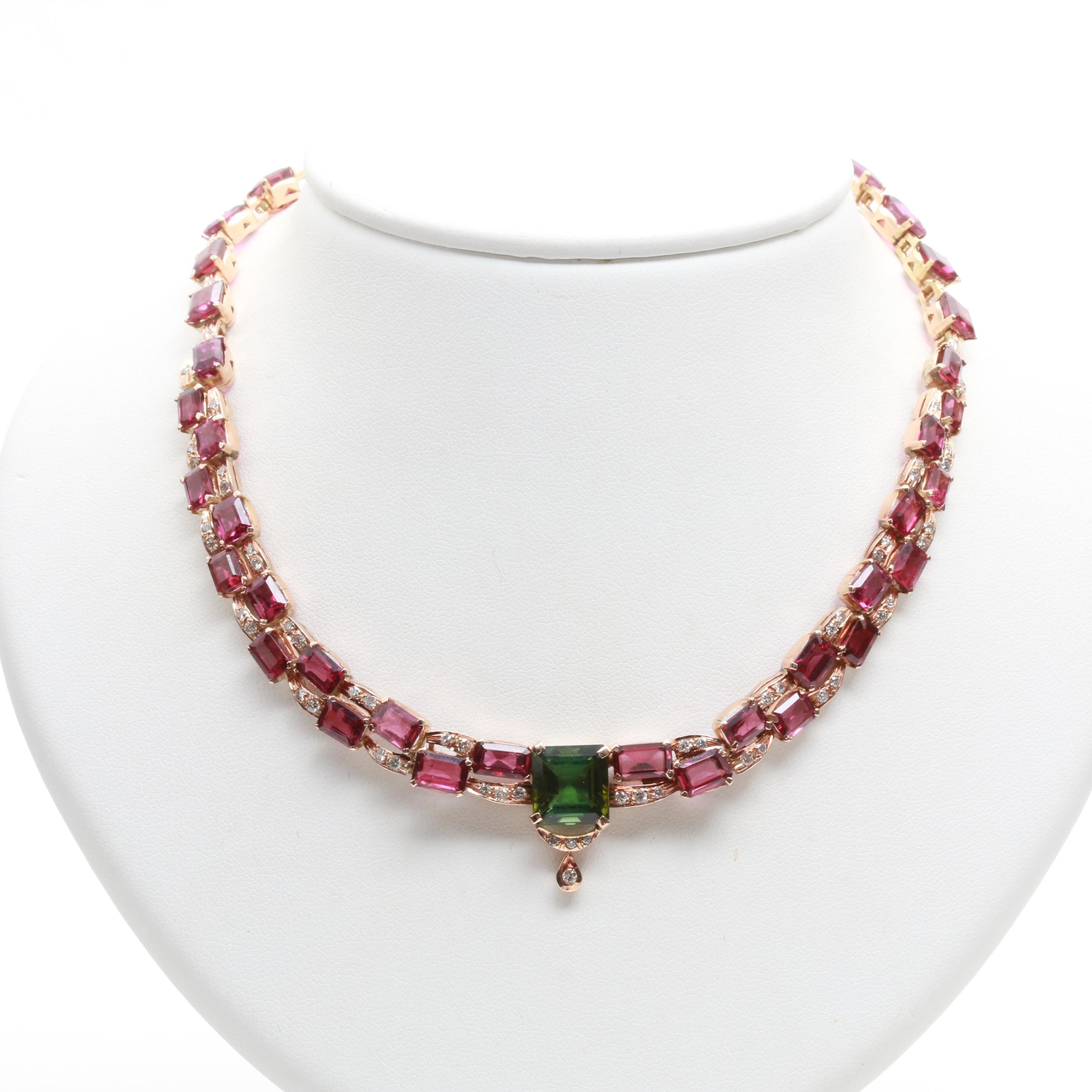 10K Yellow Gold Green Tourmaline, Rhodolite Garnet and 1.21 CTW Diamond Necklace