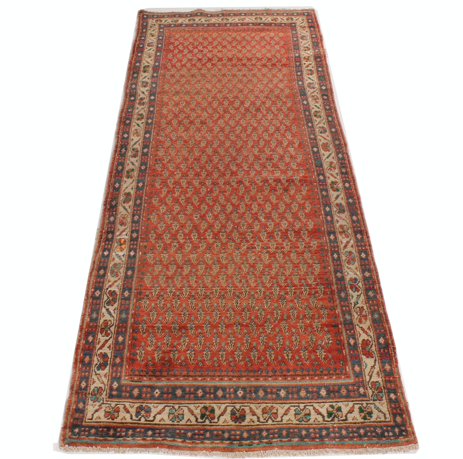 Vintage Hand Knotted Persian Boteh Sarouk Runner