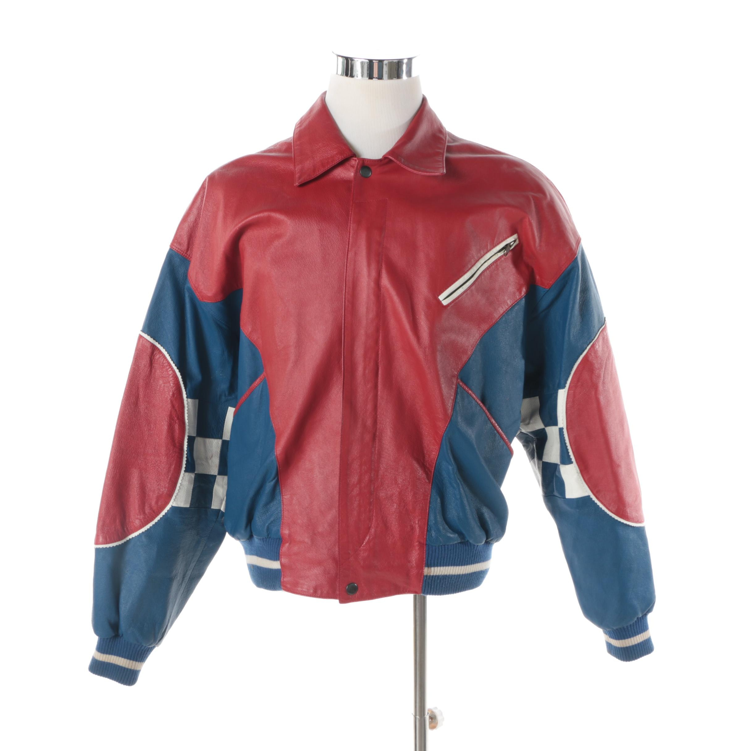 Men's 1990s Man Alive! Chill Out Red, White and Blue Leather Bomber Jacket