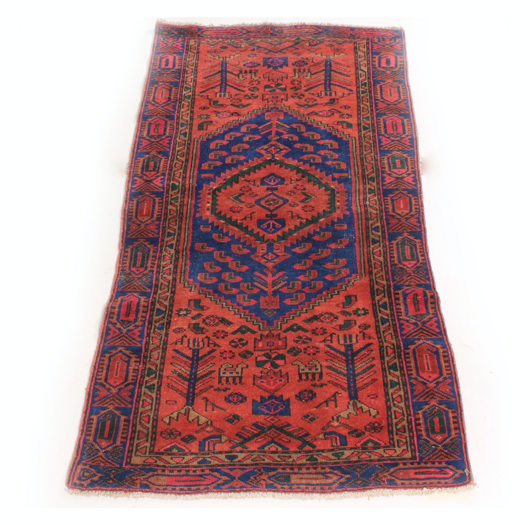 Vintage Hand Knotted Persian Kurdish Bijar Rug