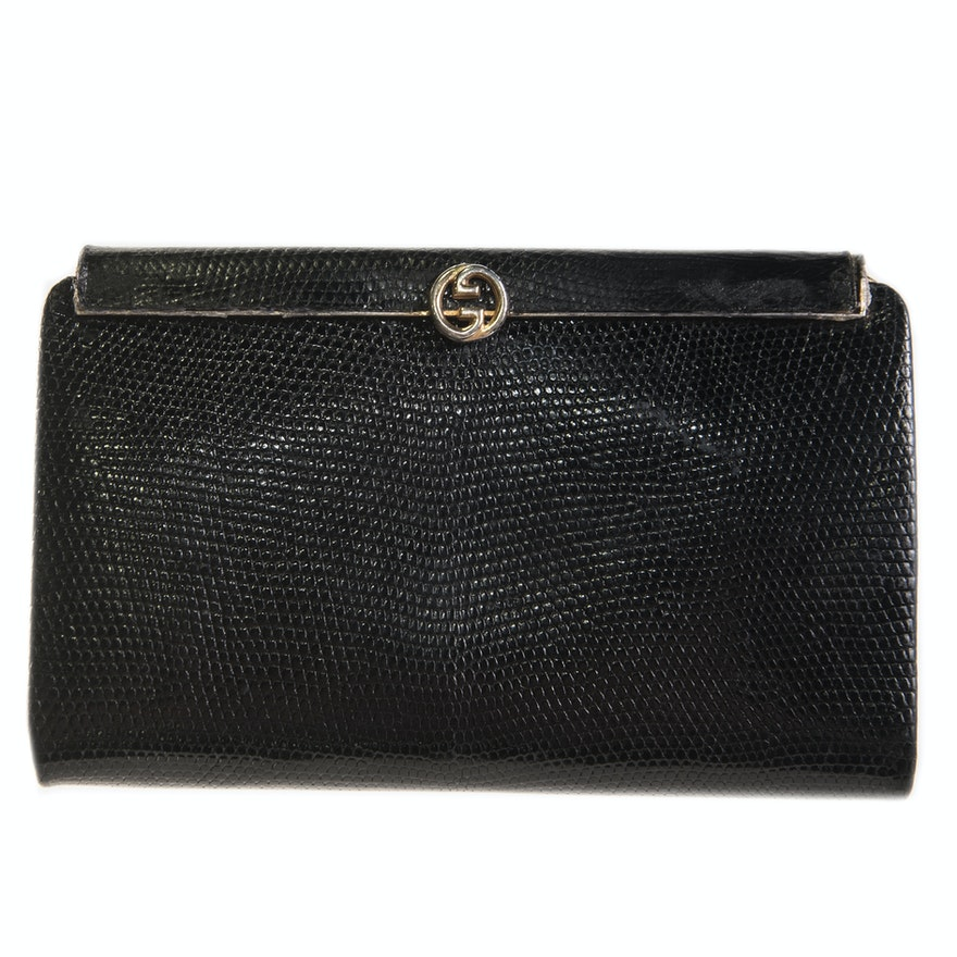 a7c279039fe Vintage Gucci Black Reptile Embossed Leather Clutch   EBTH