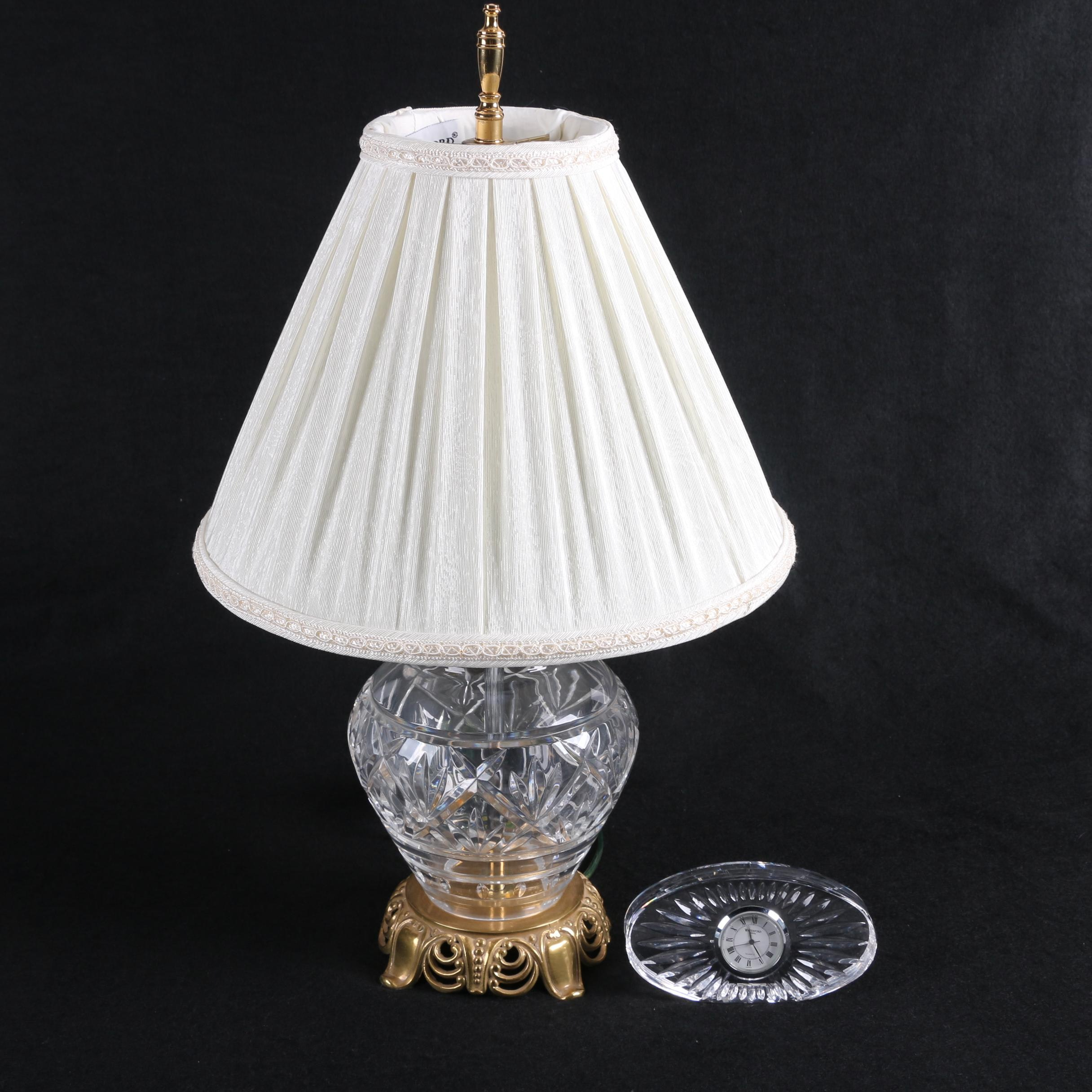 "Waterford Crystal ""Kent"" Table Lamp and Oval Clock"