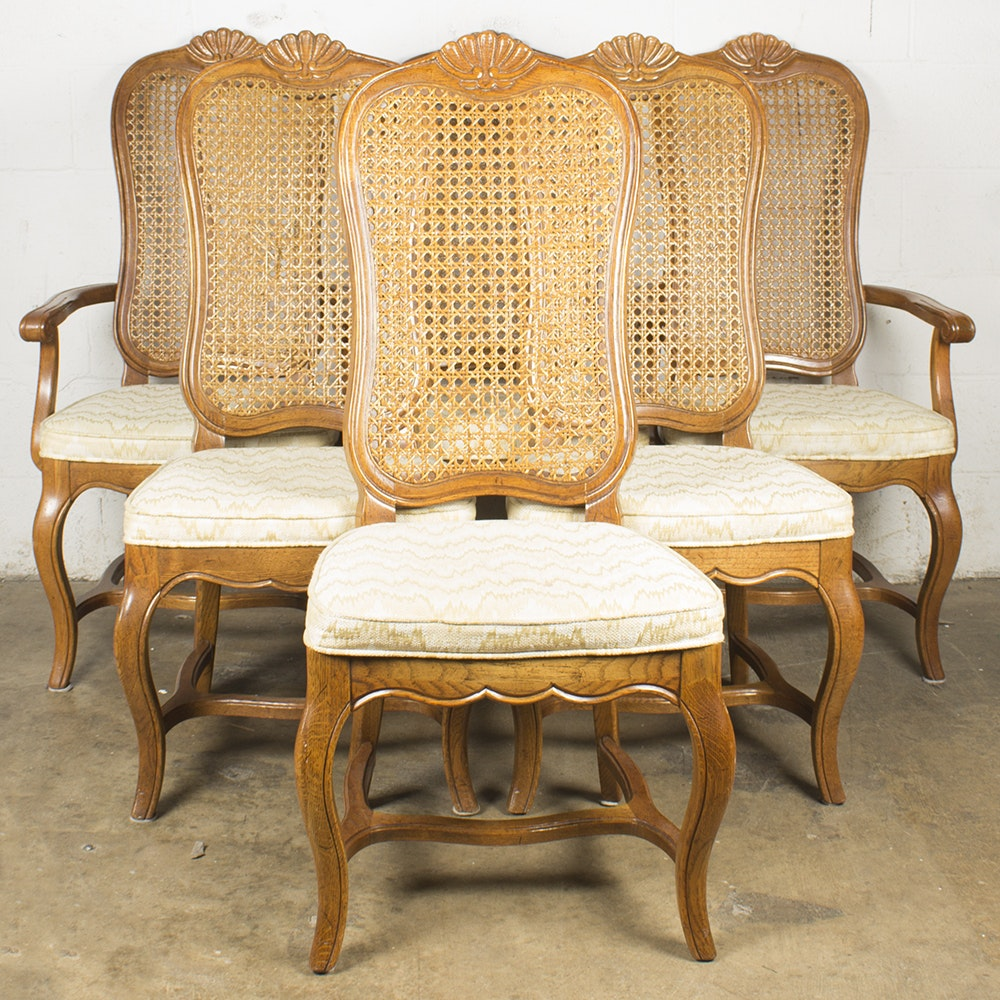 French Provincial Style Cane Back Dining Chairs by Hickory Manufacturing Company