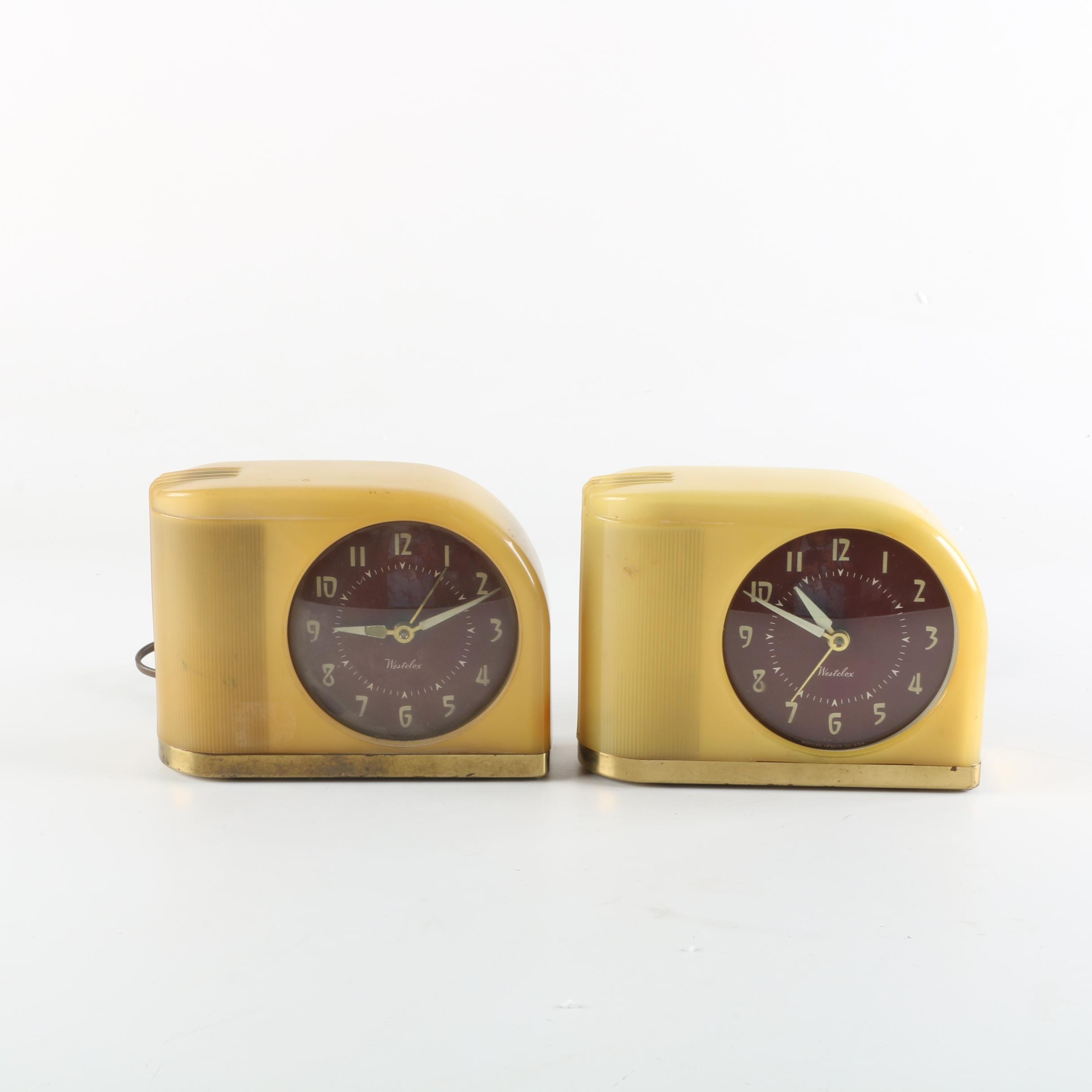 "Circa 1950s Westclox ""Moonbeam"" Alarm Clocks"