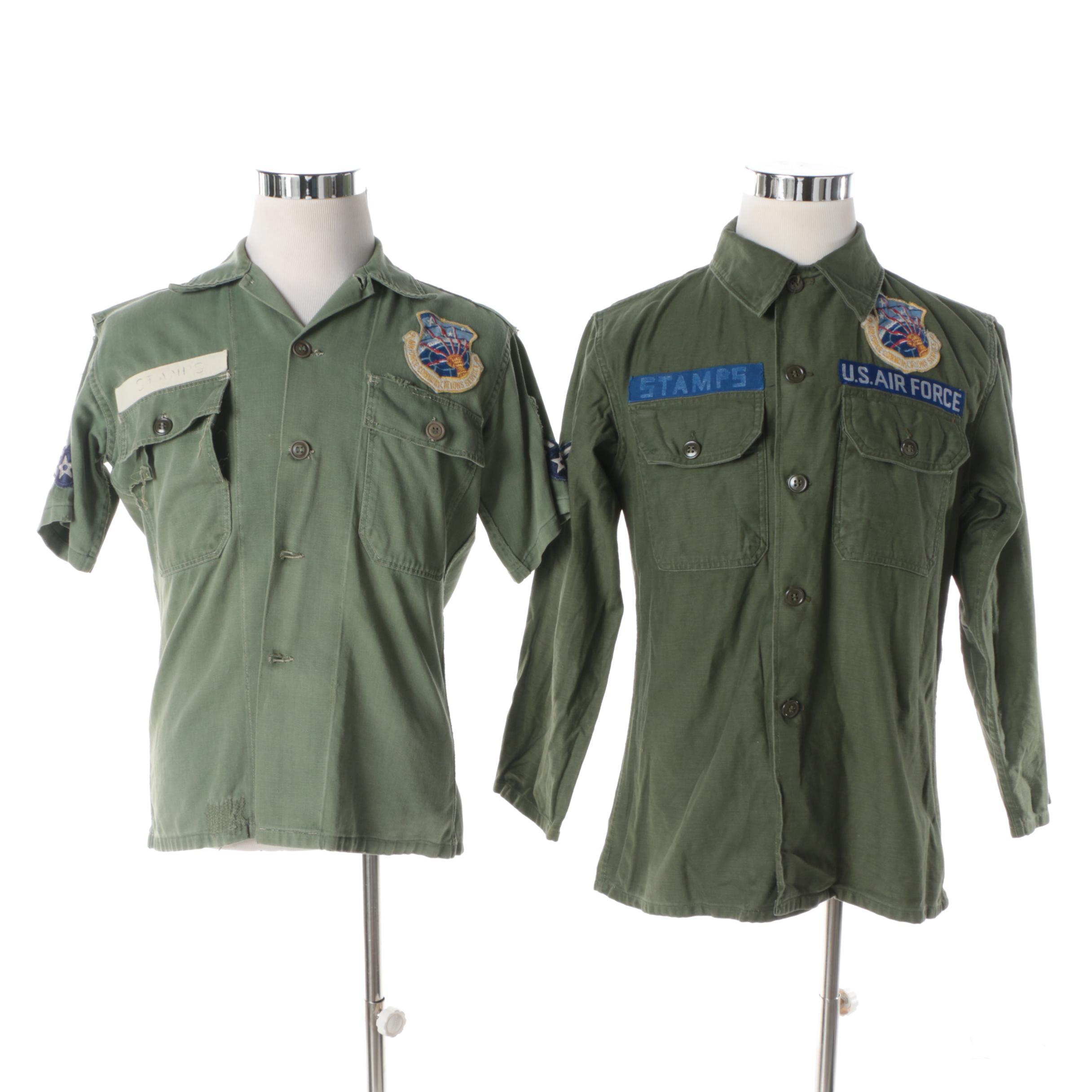 Men's Vintage US Air Force Communications Service Button-Front Shirts
