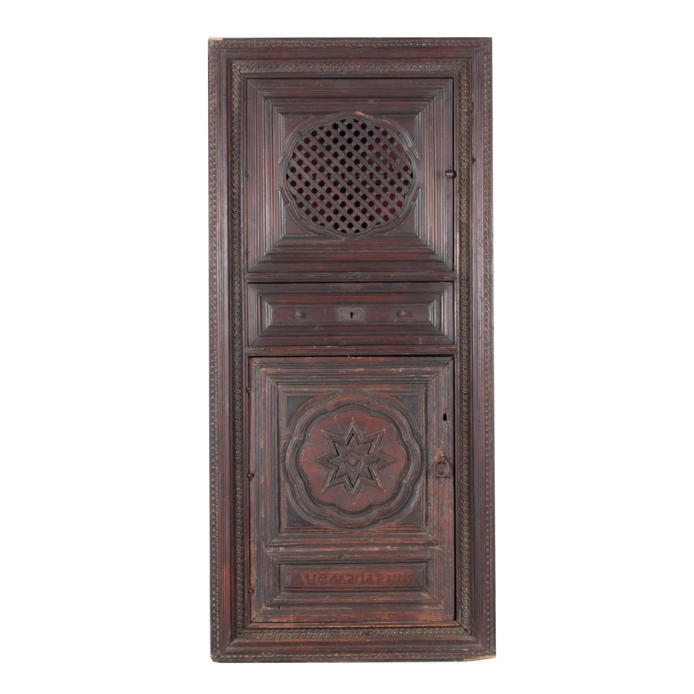 Spanish Colonial Style Pine Corner Cupboard with Antique Walnut Door Panel