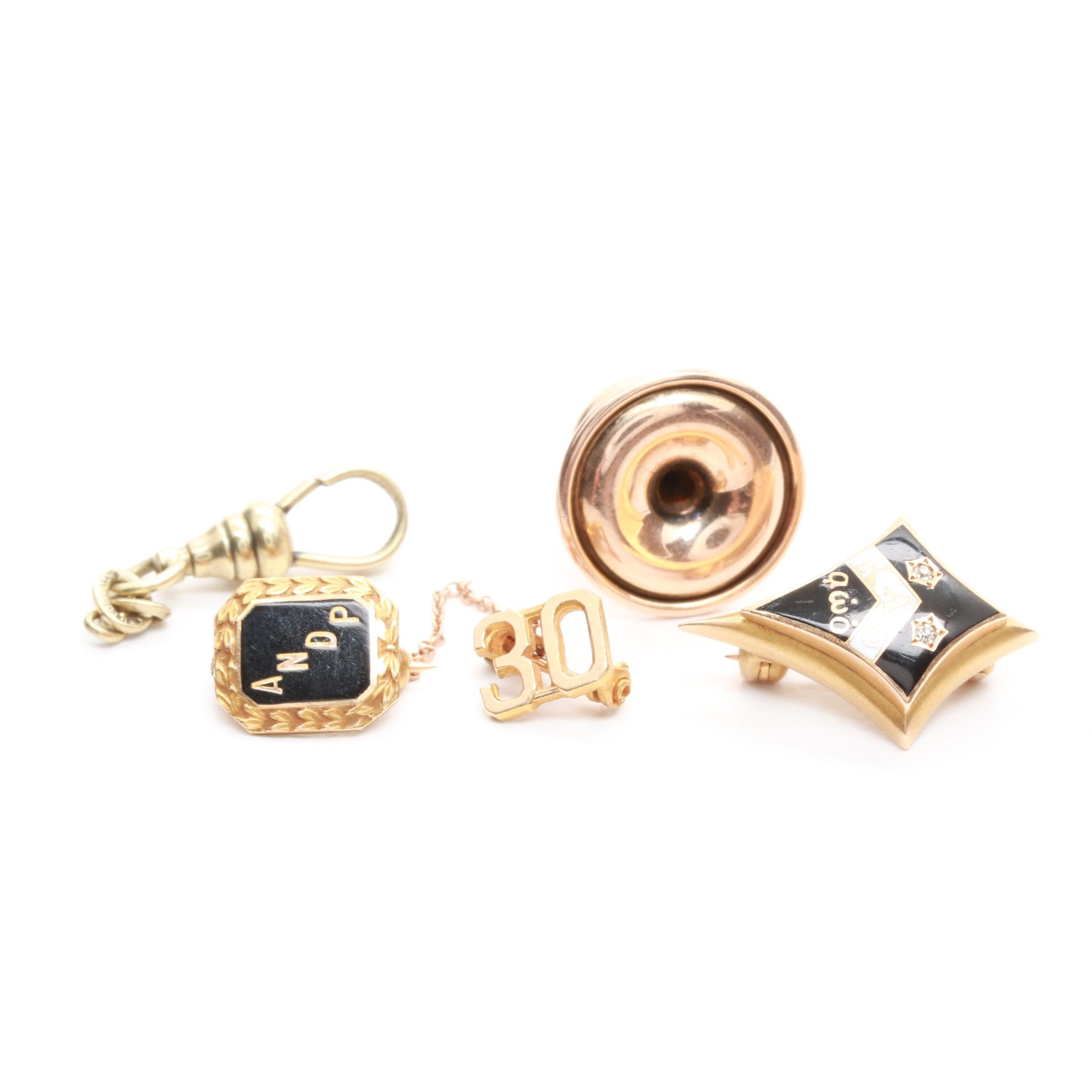 10K and 14K Yellow and Rose Gold Diamond and Enamel Jewelry