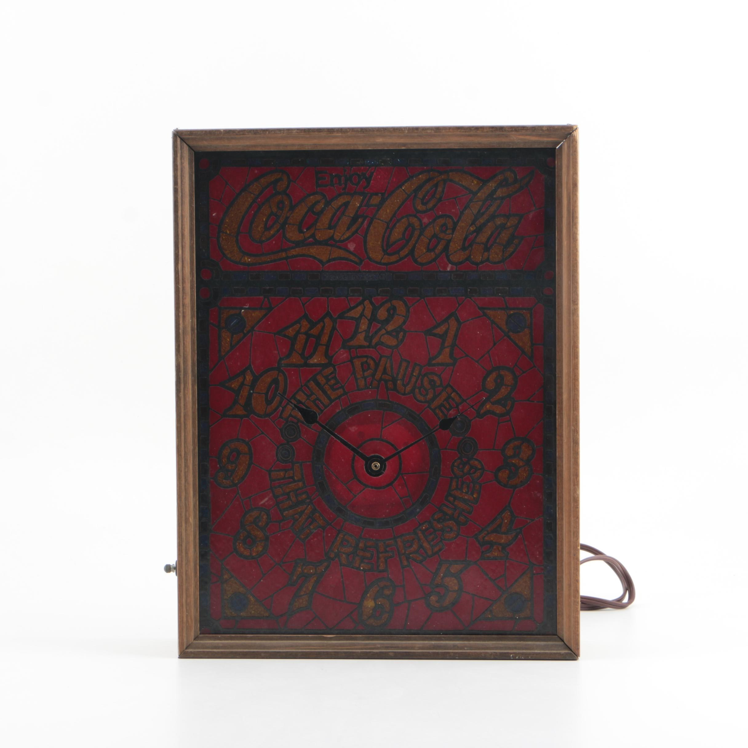 Vintage Coca Cola Faux Stained Glass Lighted Wall Clock