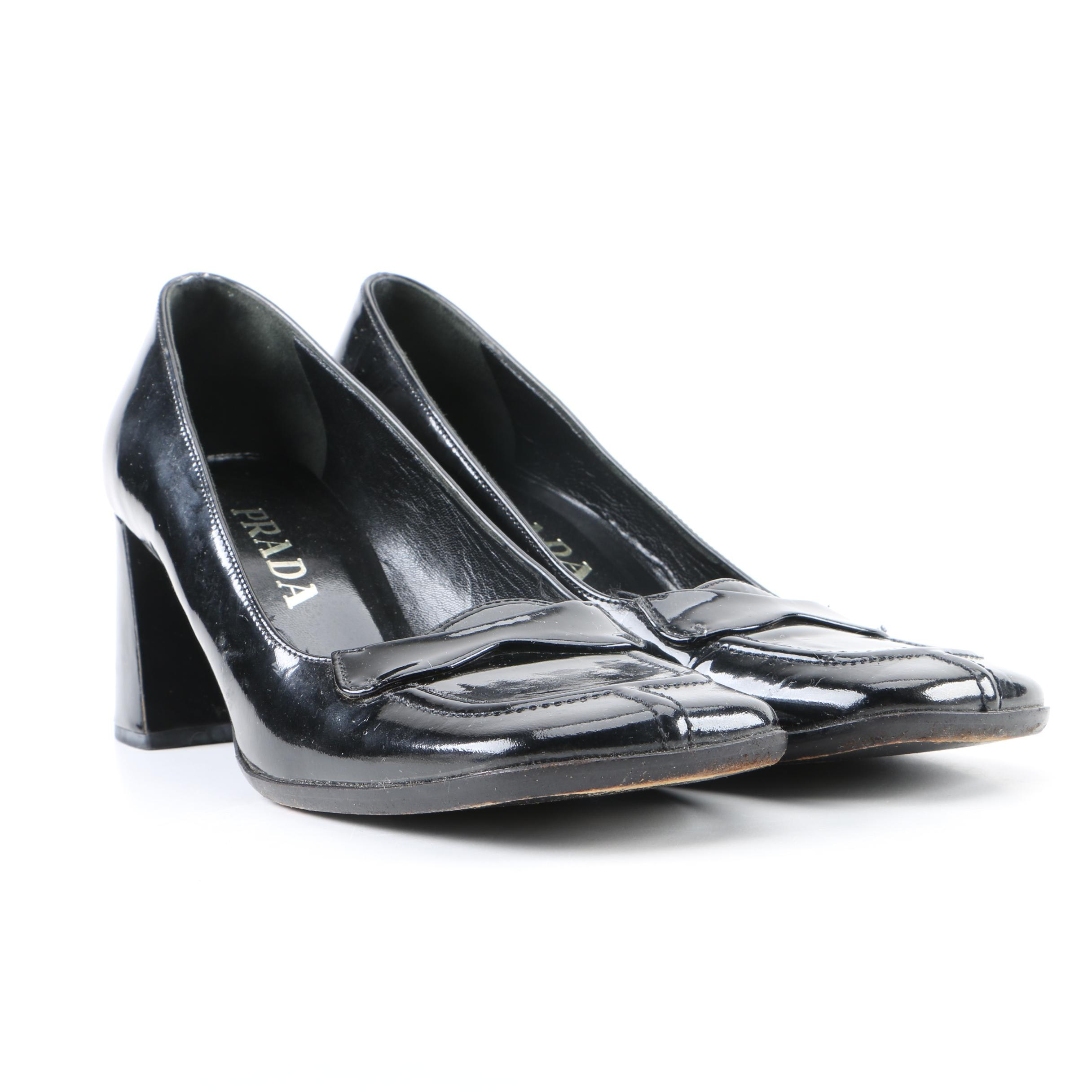 Prada Black Patent Leather High-Heeled Shoes